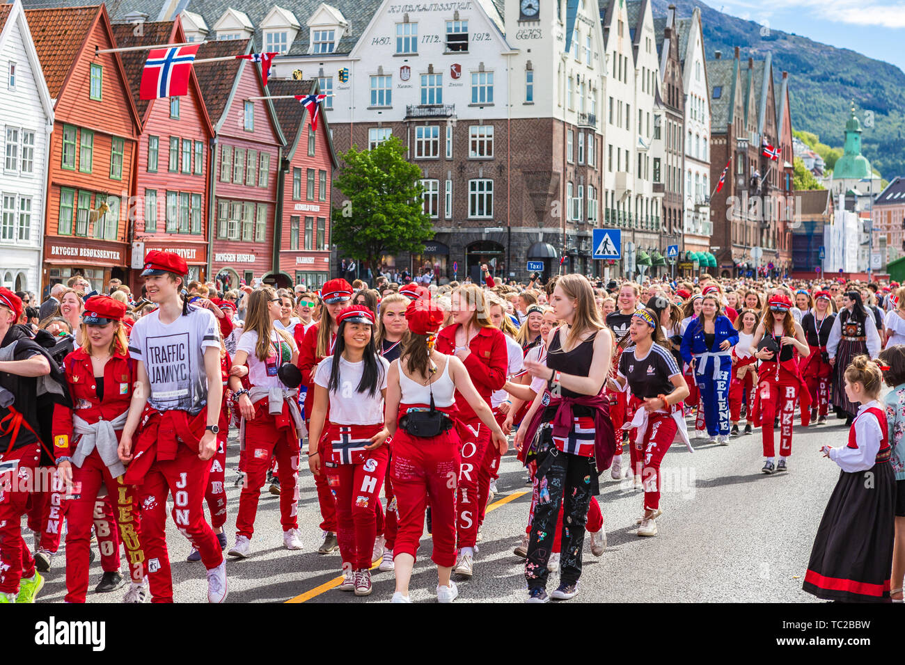 BERGEN, NORWAY - April 14, 2019: Old firefighters vehicle on street in Bergen, Norway. Stock Photo