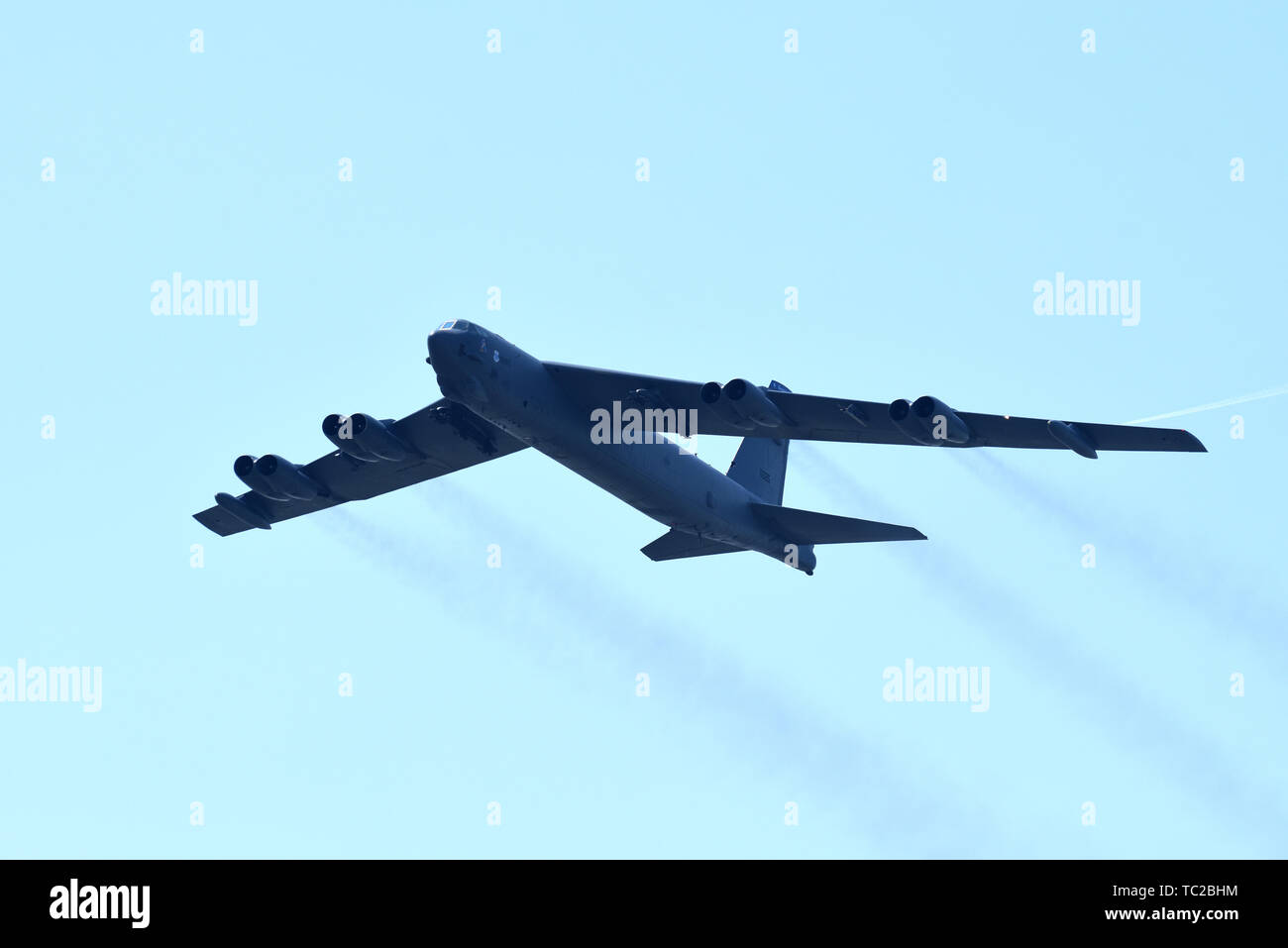 A U.S. Air Force B-52 Stratofortress strategic bomber from the 2nd Bomb Wing during NATO exercise Astral Knight 19 June 4, 2019 over Aviano Air Base, Italy. - Stock Image