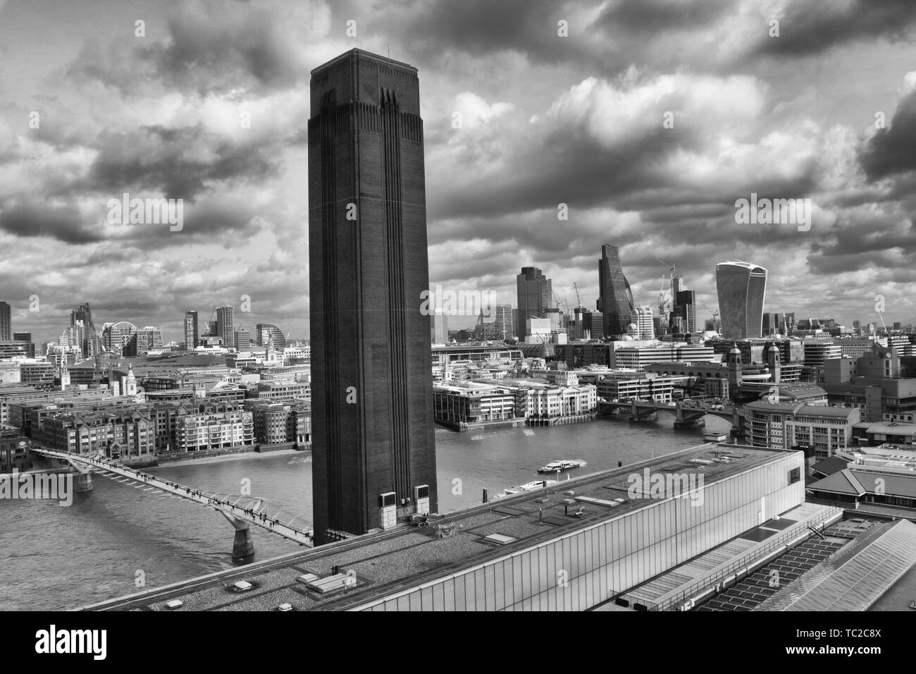City view across London and the river Thames - Stock Image