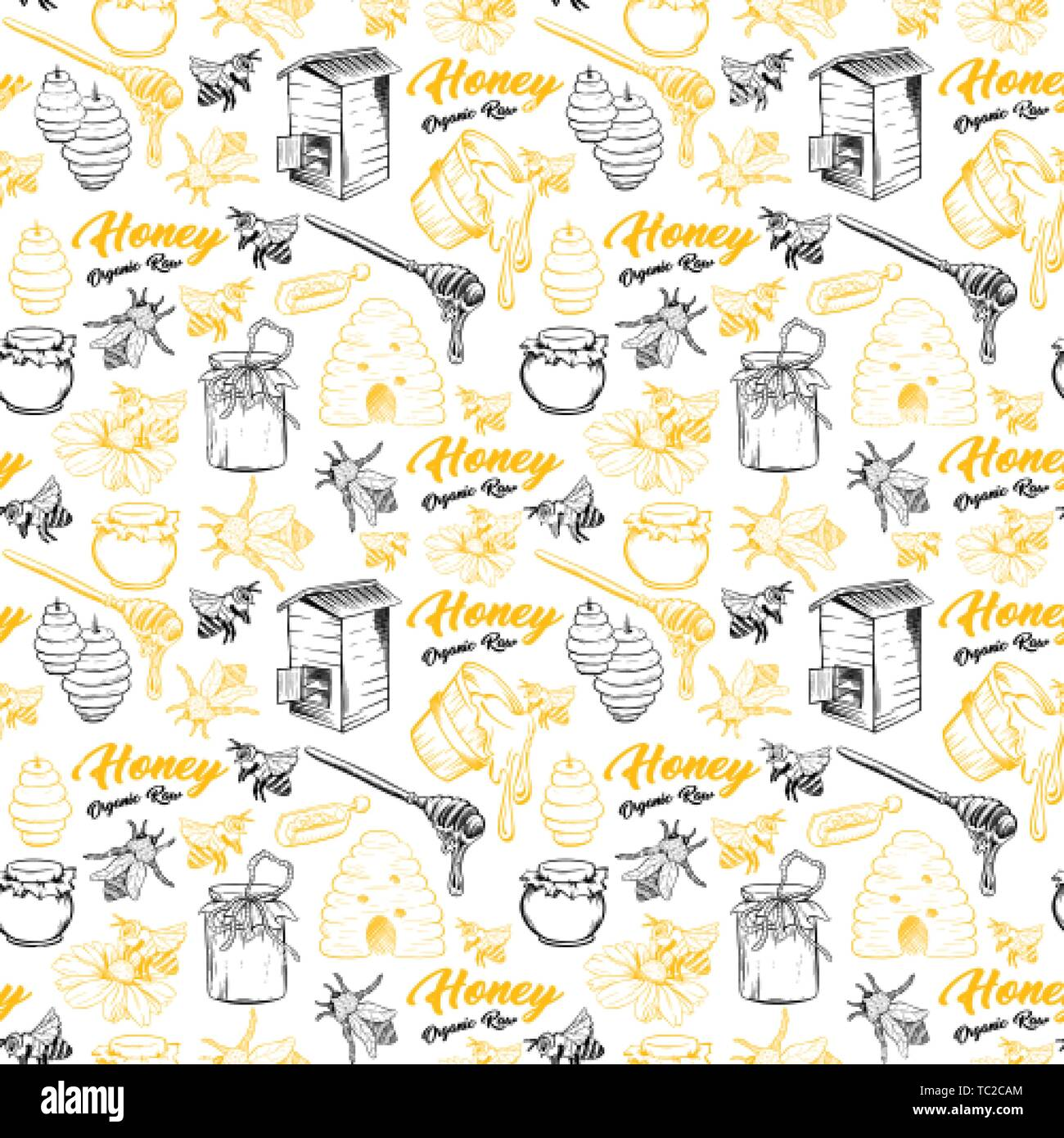 Honey Bee, Honeycomb And Jar Image Seamless Pattern Design In Sketch. Honey Comb, Pot, Bee Hive, Flowers Hand Drawn Vintage Elements On White Background Vector Illustration - Stock Vector