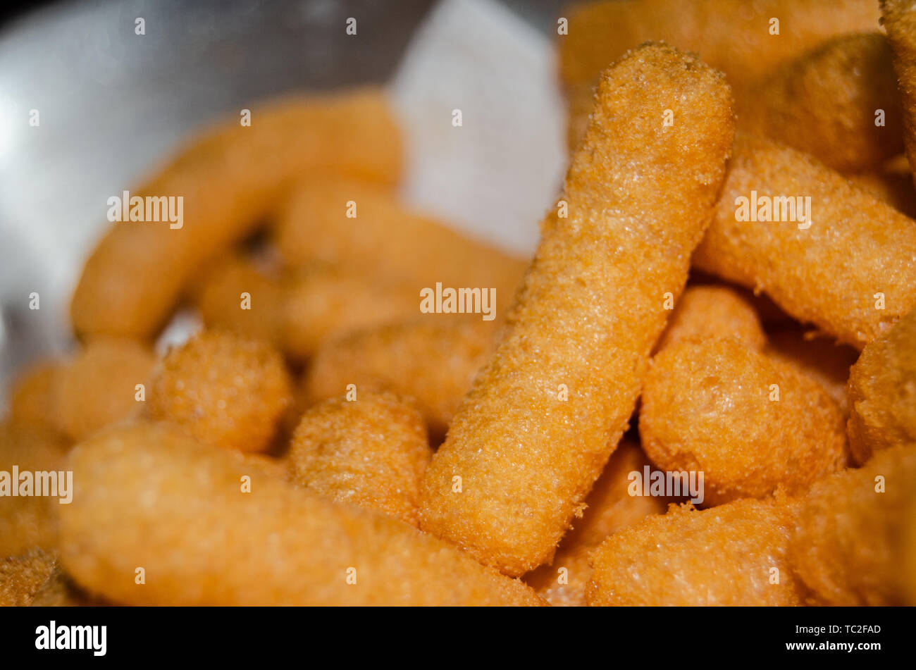 flips snack background and close up - Stock Image