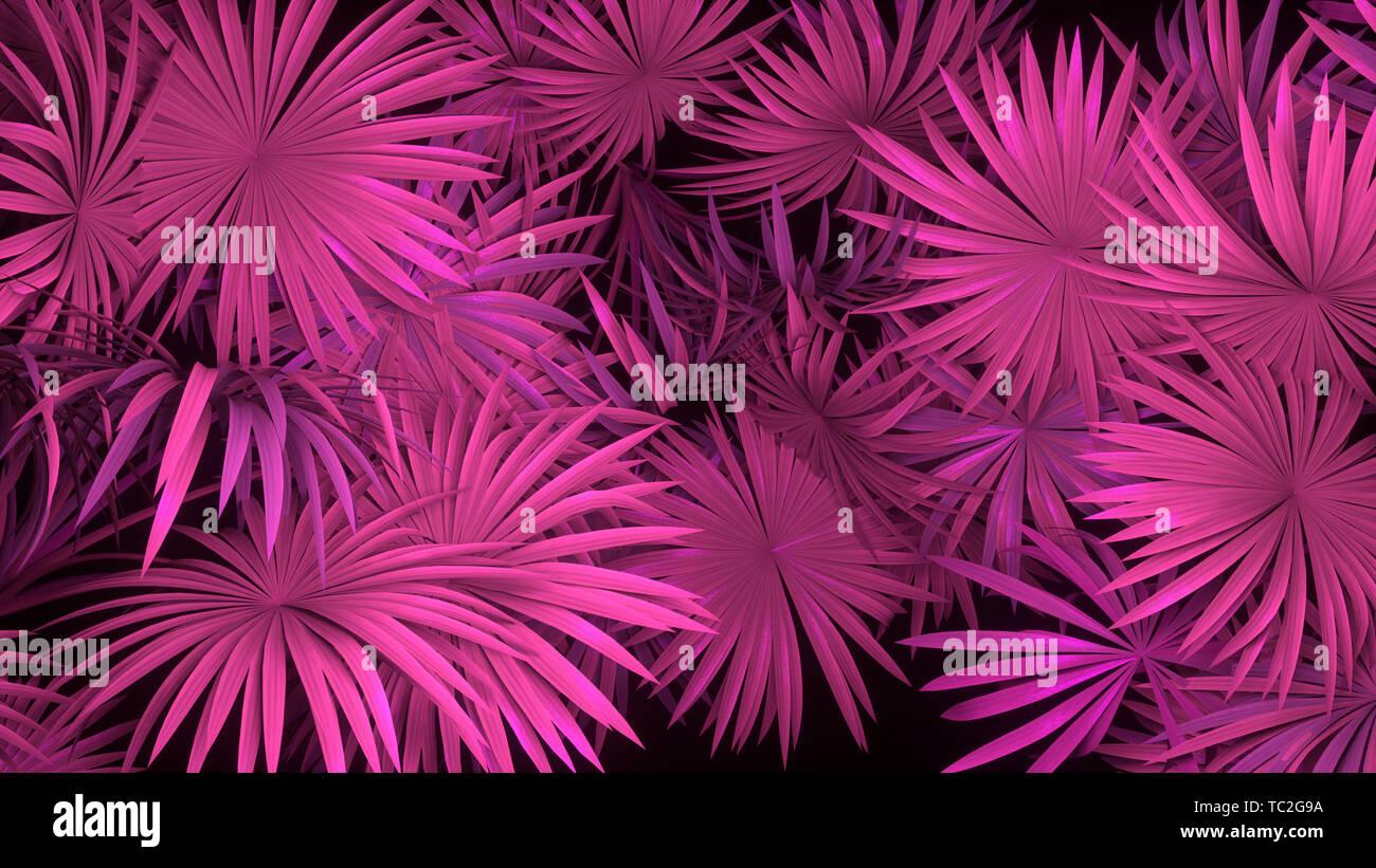 3d render of neon palm leaves on black background  Banner design