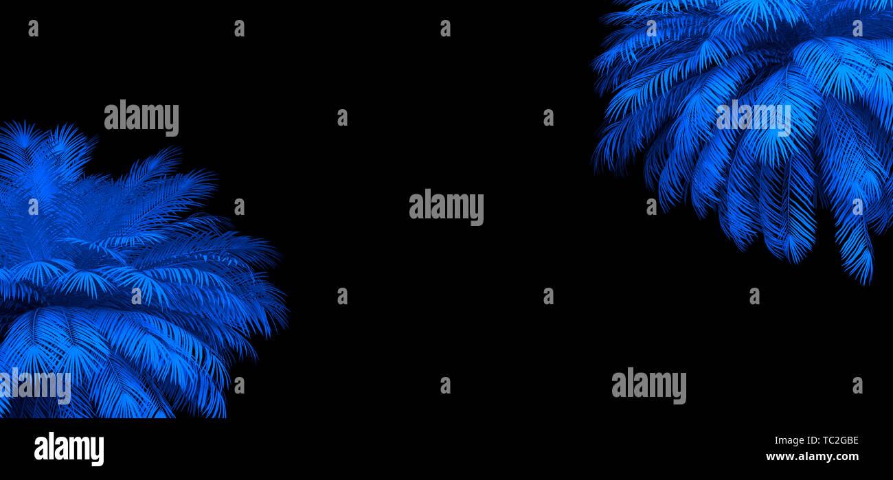 3d render of neon palm leaves on the black  Banner design  Retrowave