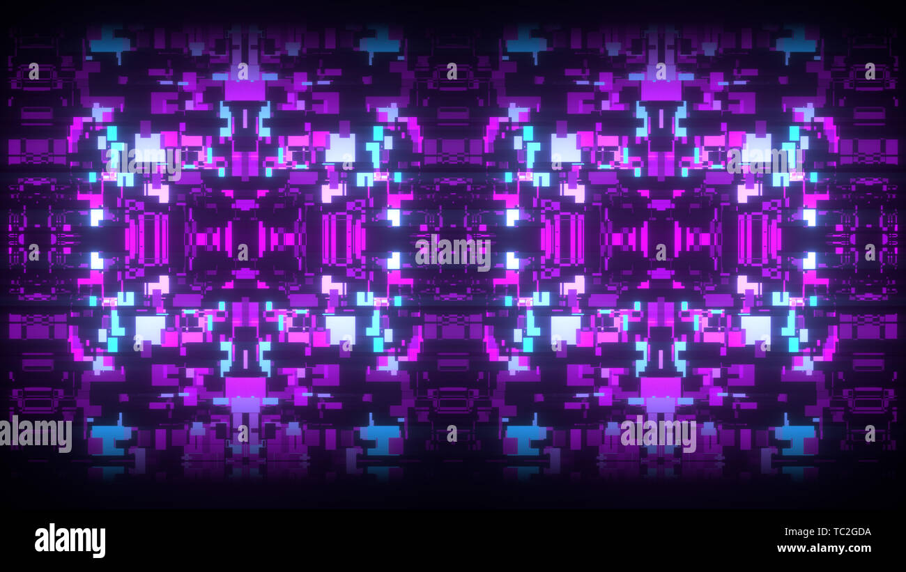 3d abstract art background render, colorful squares on the black