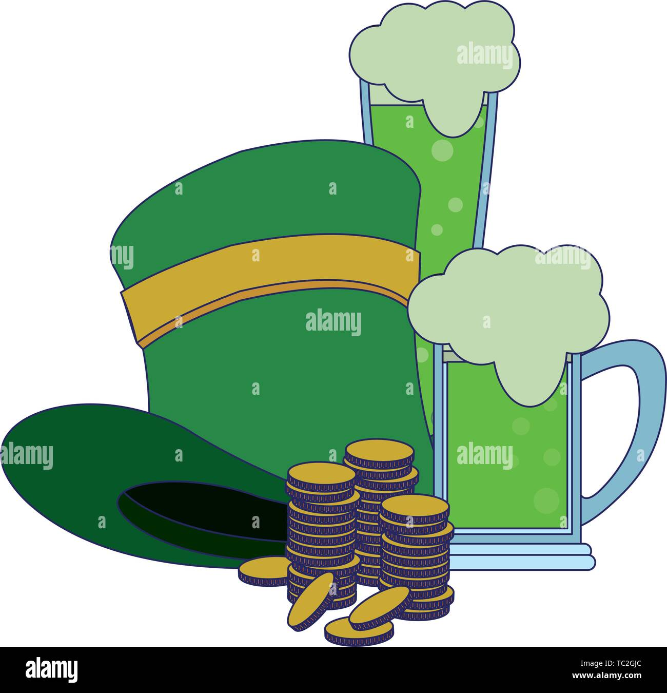 saint patrick day irish celebration blue lines - Stock Image