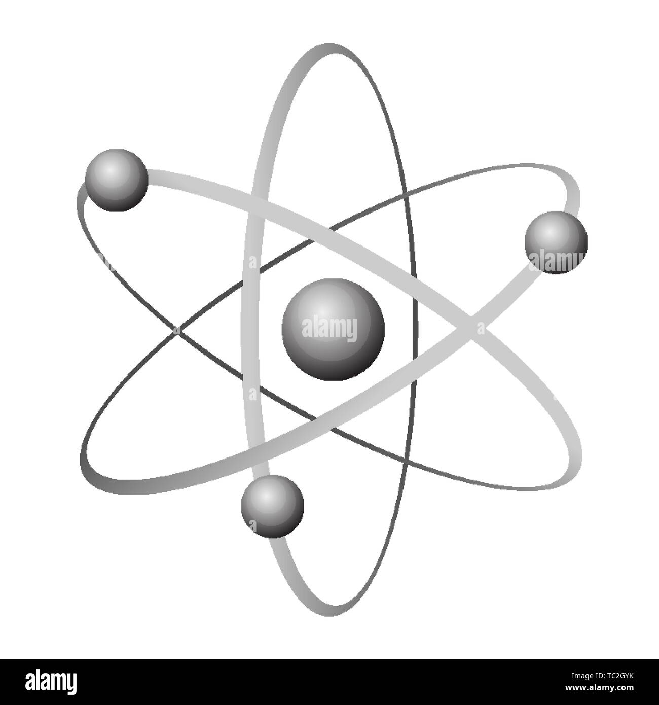 Atom grey icon with circles and balls inside and on lines isolated on white. Vector illustration of the smallest constituent unit of ordinary matter t - Stock Vector