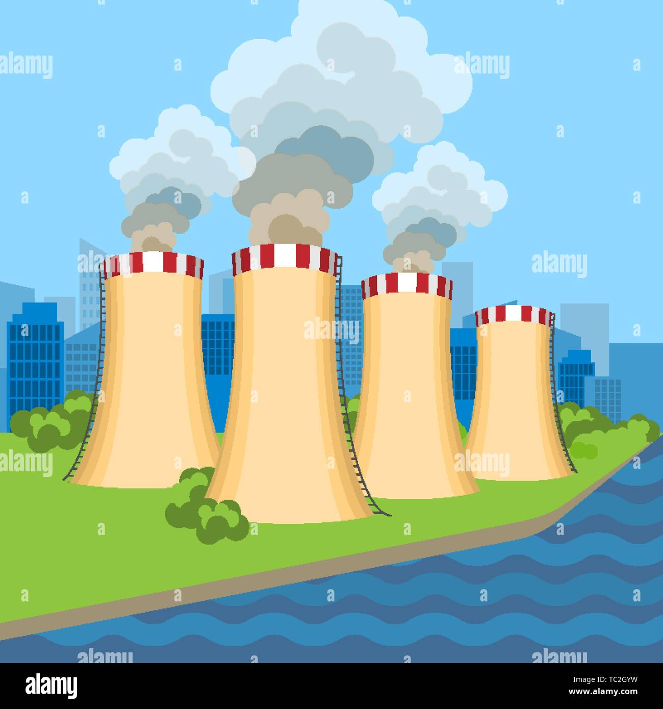 Working nuclear power plant near set of connected towers along flowing blue. Vector illustration of dangerous for environment and people anatomic nucl - Stock Vector