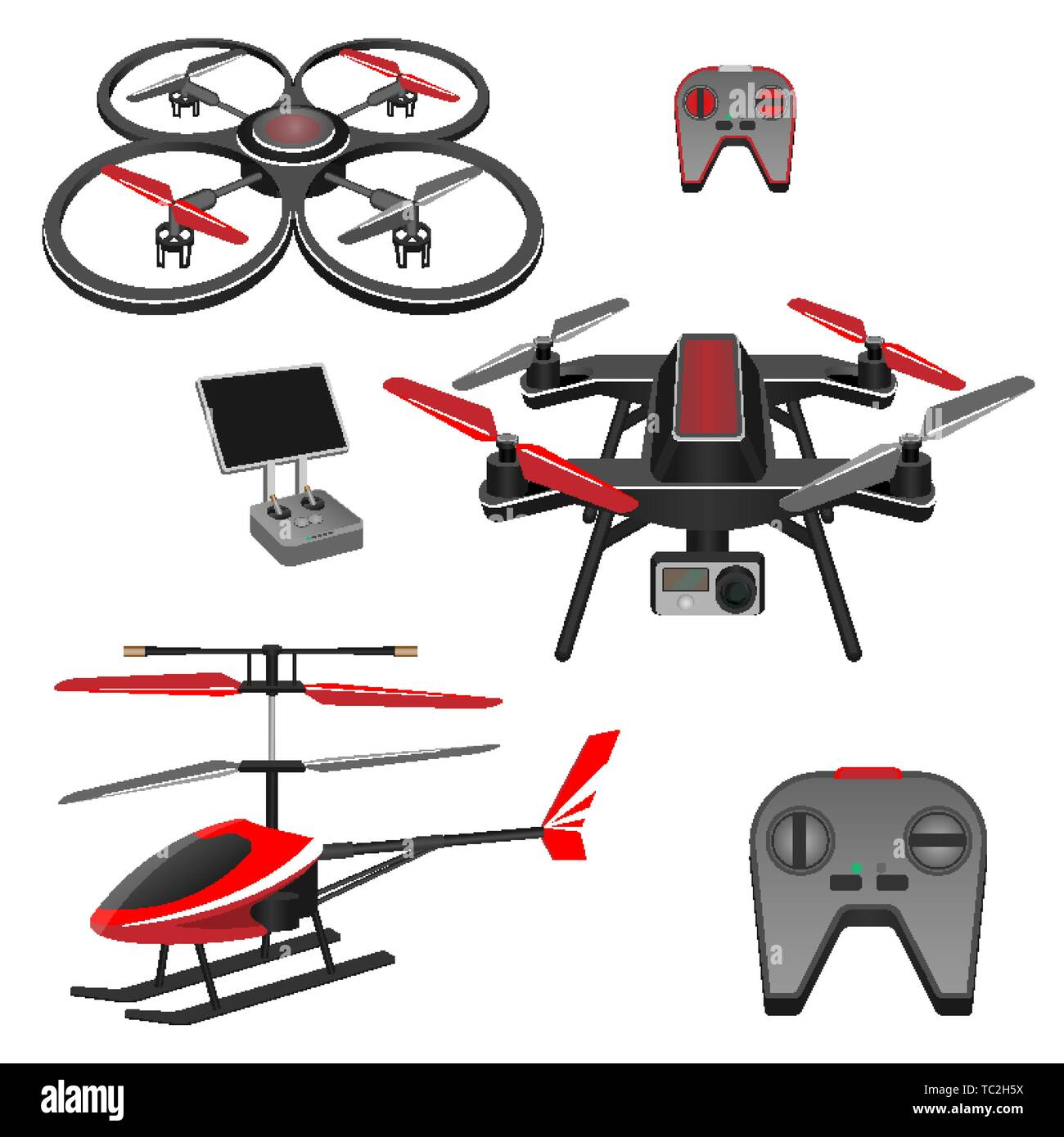 Helicopter and quadrocopter, quadcopter with camera, remote controls set - Stock Image