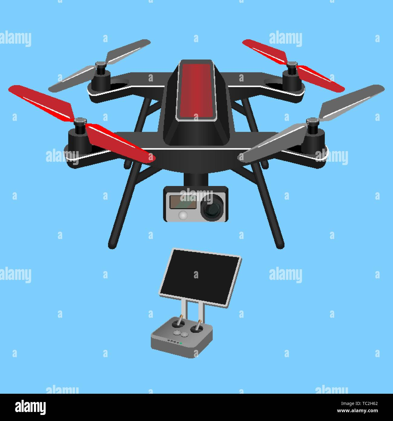 Vector illustration of multirotor dark-ruddy helicopter lifted and propelle - Stock Image