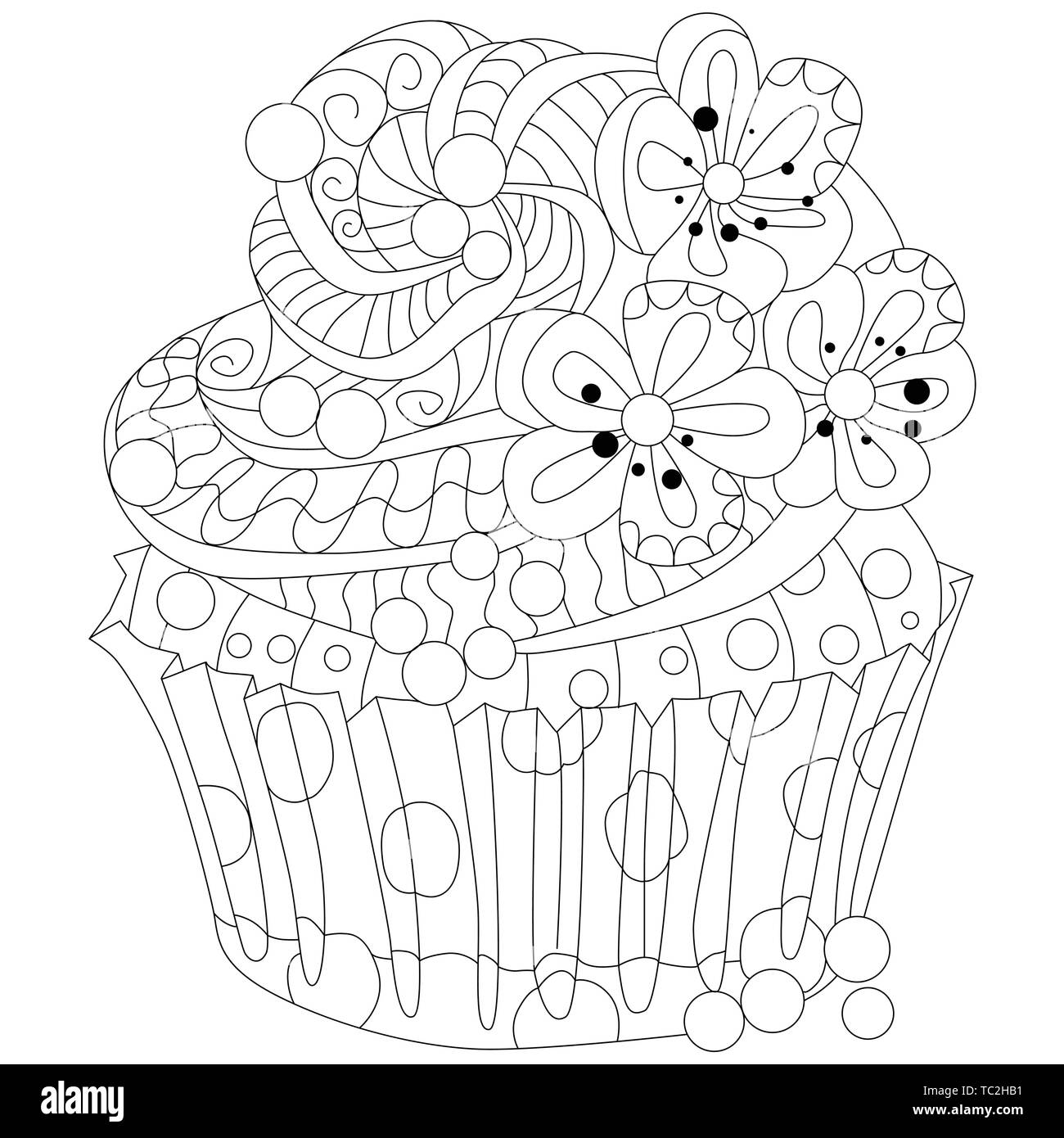 Vector piece of cake with abstract ornaments. Hand drawn illustration for coloring book for adult in zentangle, doodle style. Coloring pages. - Stock Image