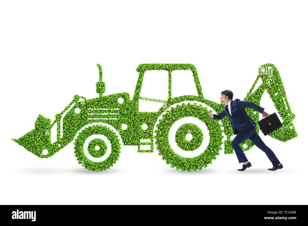 Green environmentally friendly vehicle concept - Stock Image
