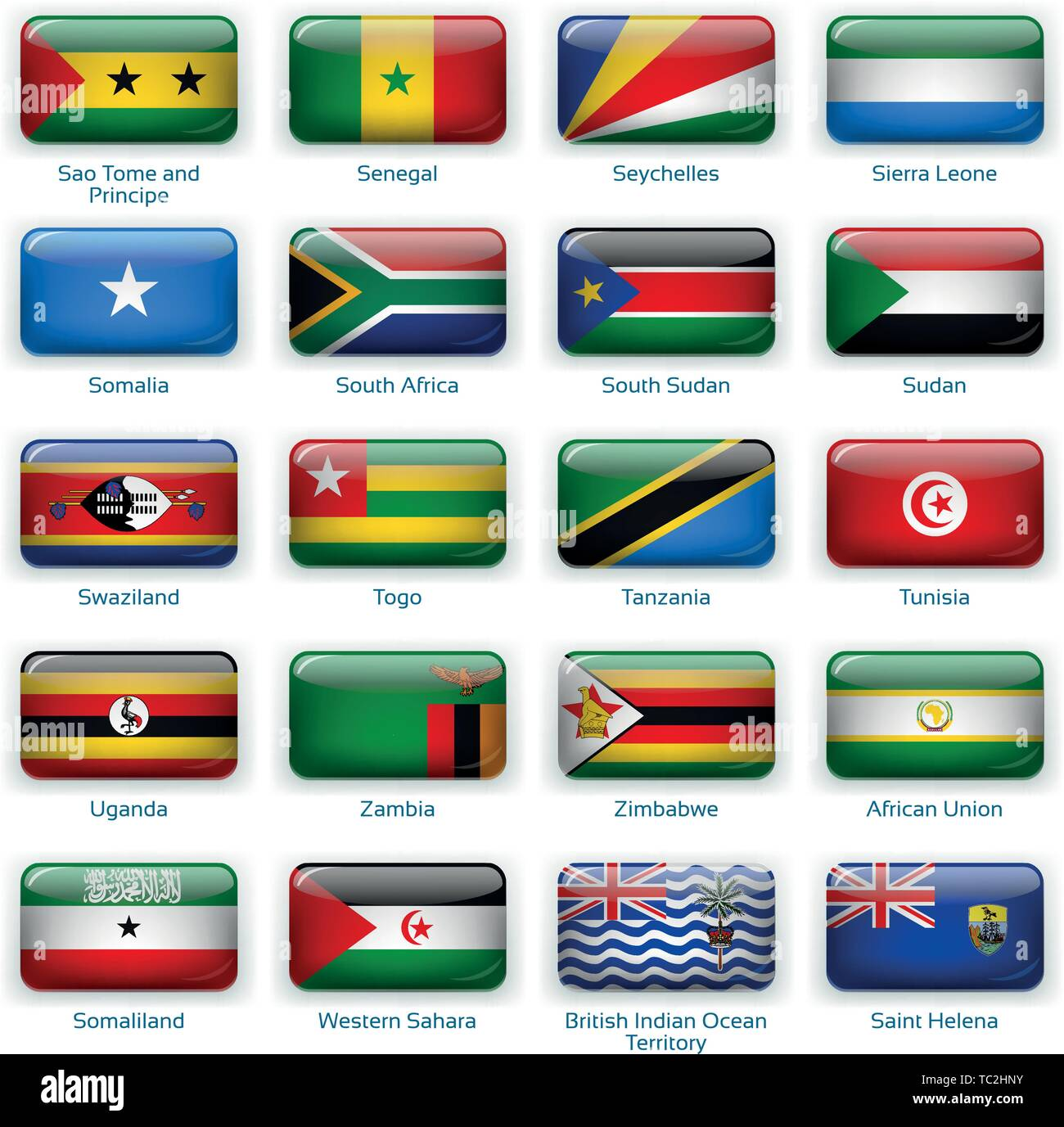 Button flags Africa three. Vector illustration. 3 layers. Shadows, flat flag you can use it separately, button. Collection of 220 world flags. Accurate colors. Easy changes. Stock Vector