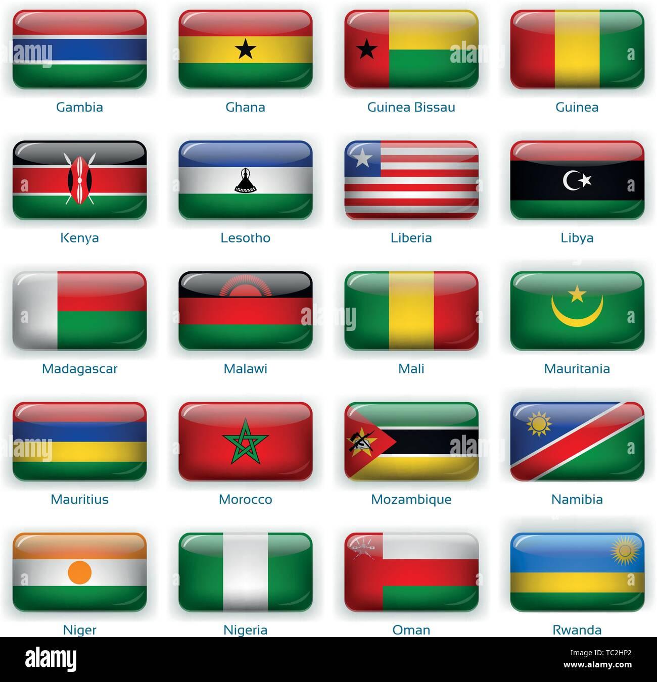 Button flags Africa two. Vector illustration. 3 layers. Shadows, flat flag you can use it separately, button. Collection of 220 world flags. Accurate colors. Easy changes. - Stock Vector
