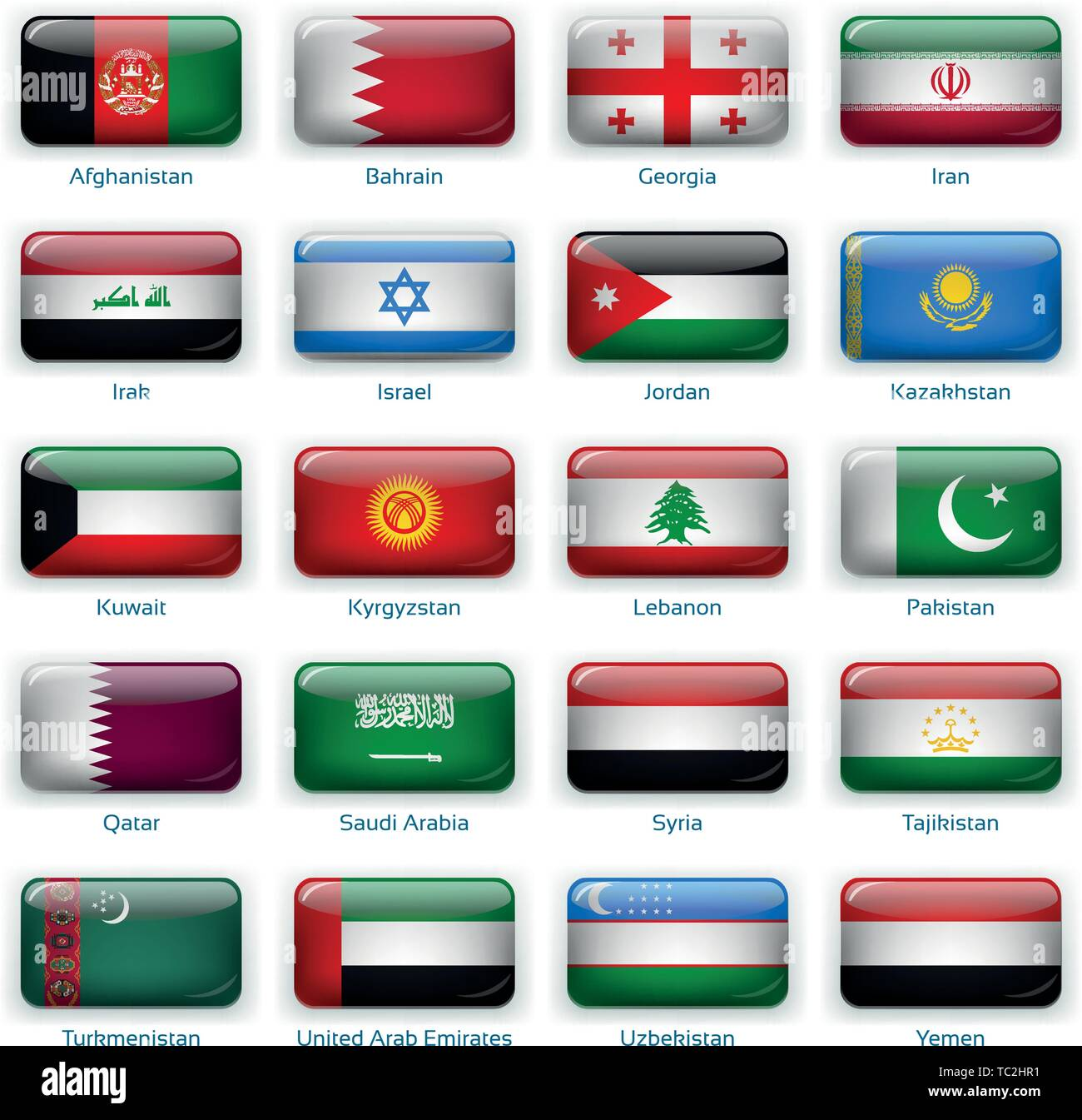 Button flags Western Asia. Vector illustration. 3 layers. Shadows, flat flag you can use it separately, button. Collection of 220 world flags. Accurate colors. Easy changes. - Stock Vector