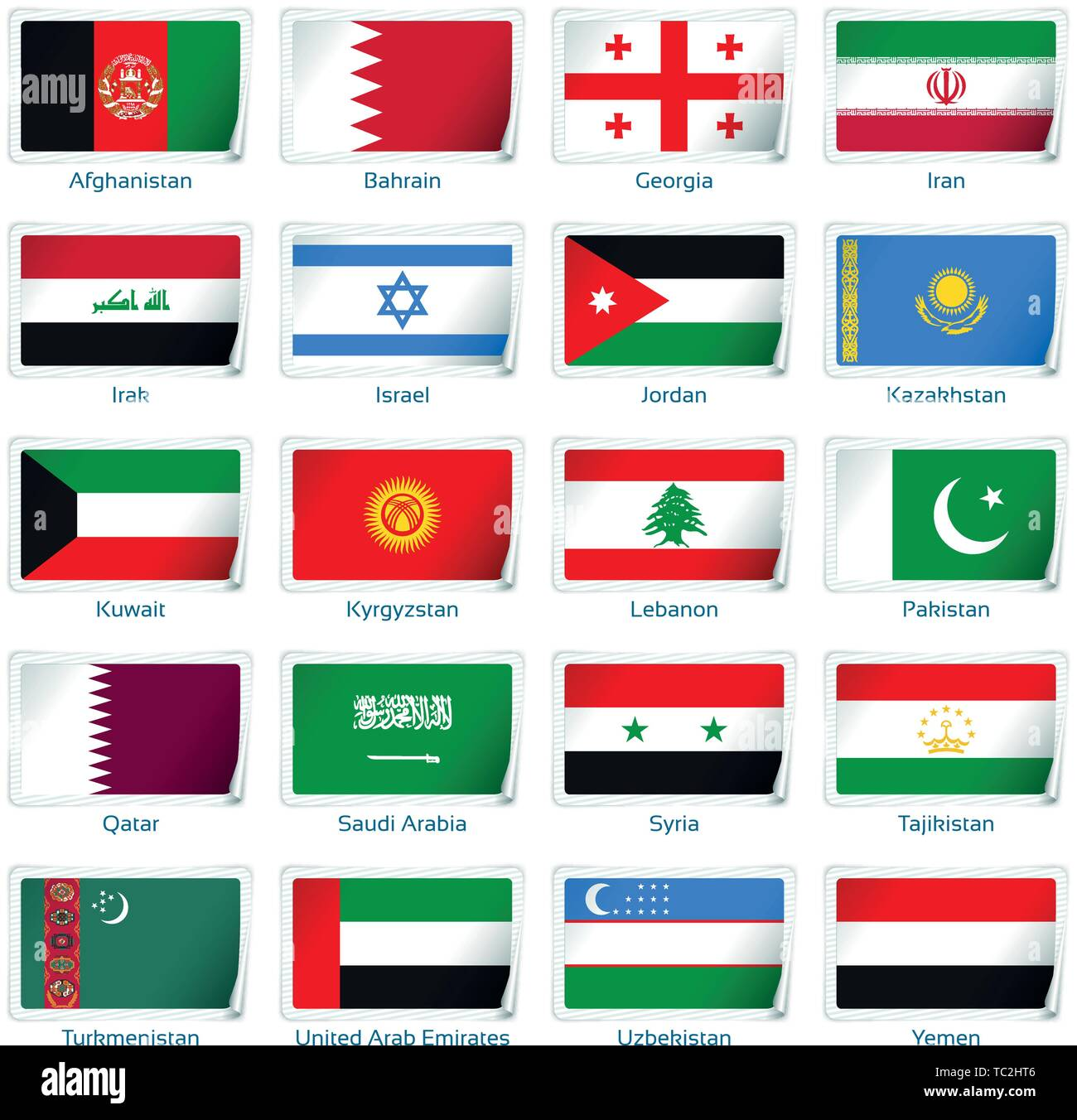Sticker flags Western Asia. Vector illustration. 3 layers. Shadows, flat flag you can use it separately, sticker. Collection of 220 world flags. Accurate colors. Easy changes. - Stock Vector