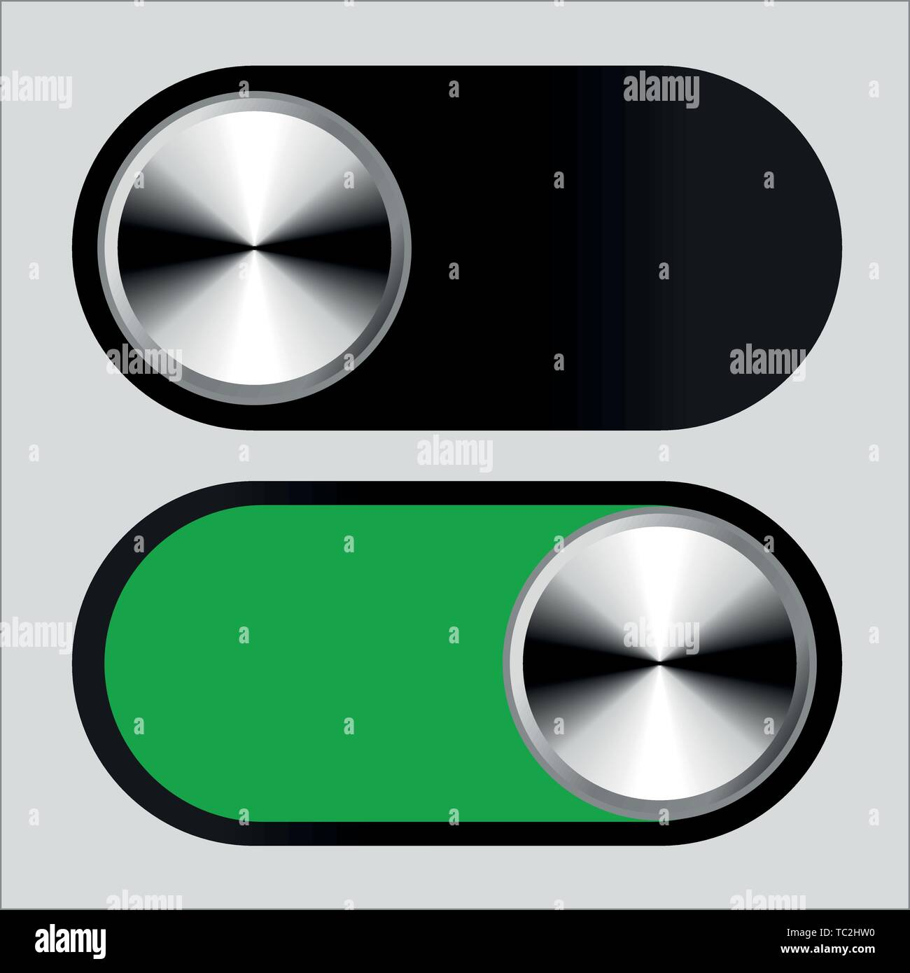 Vector illustration. Switch symbol in on and off positions. Metallic style. - Stock Vector