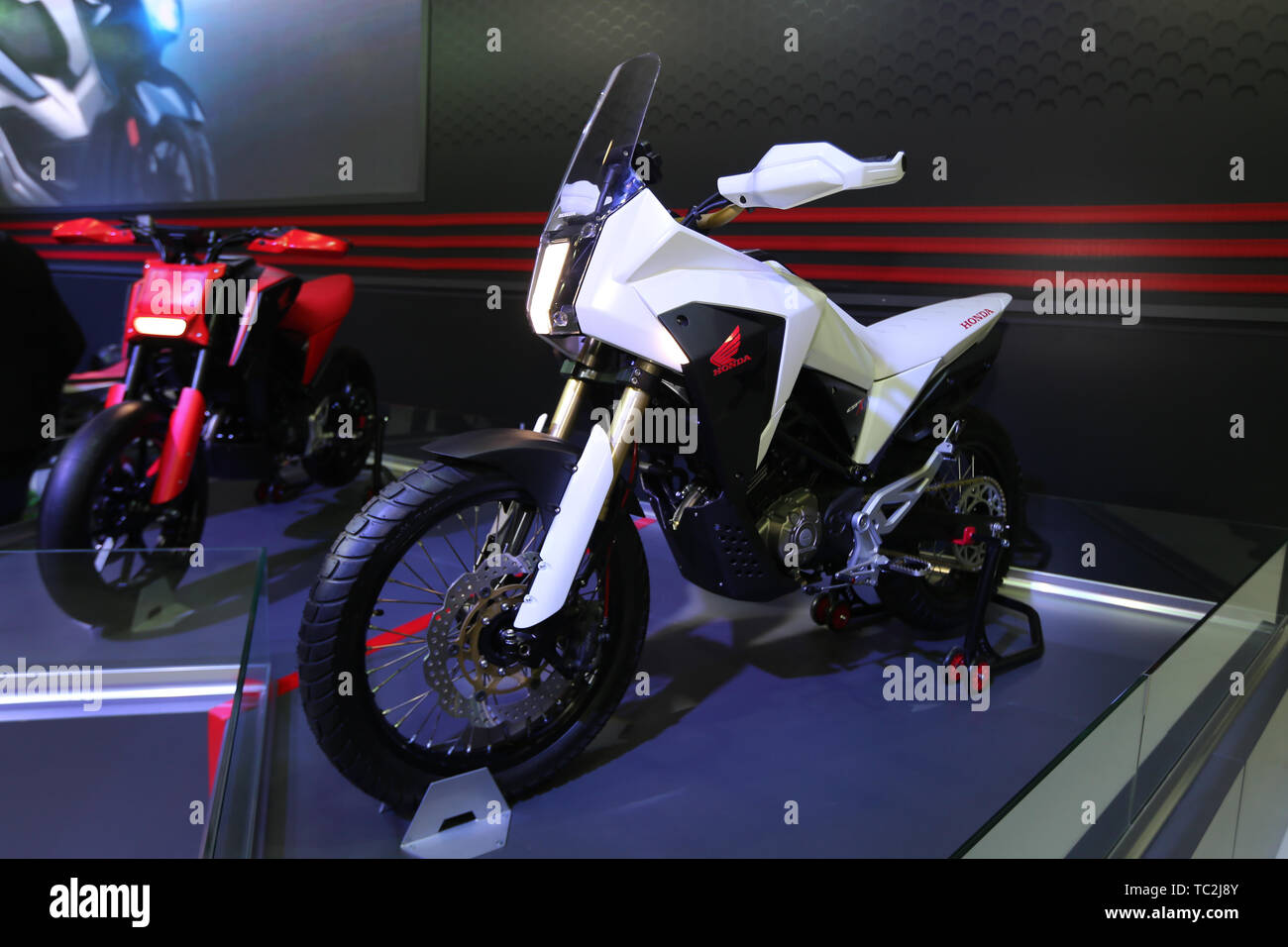 ISTANBUL, TURKEY - FEBRUARY 23, 2019: Honda CB125X on display at Motobike Istanbul in Istanbul Exhibition Center - Stock Image