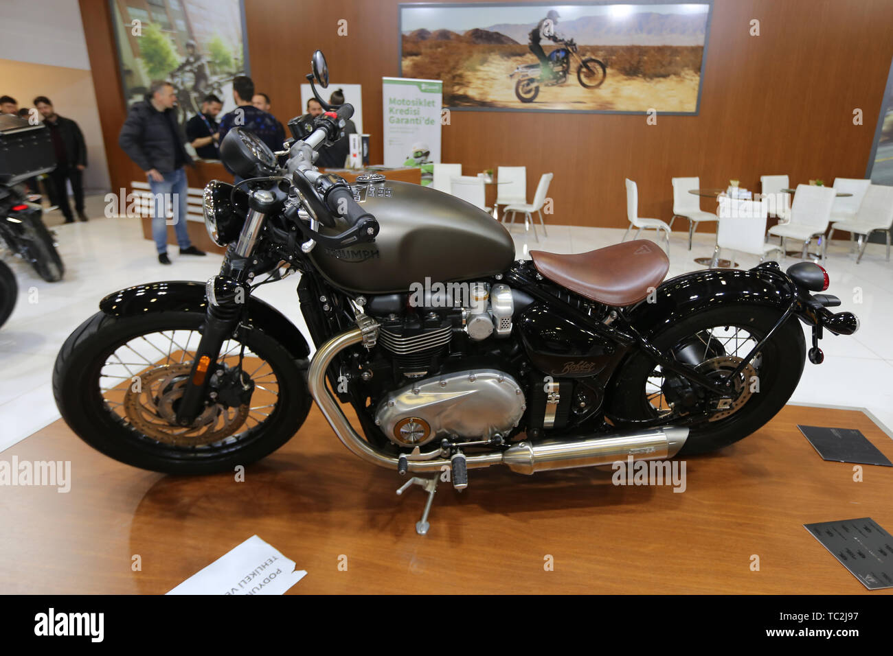 ISTANBUL, TURKEY - FEBRUARY 23, 2019: Triumph Motorcycle on display at Motobike Istanbul in Istanbul Exhibition Center - Stock Image