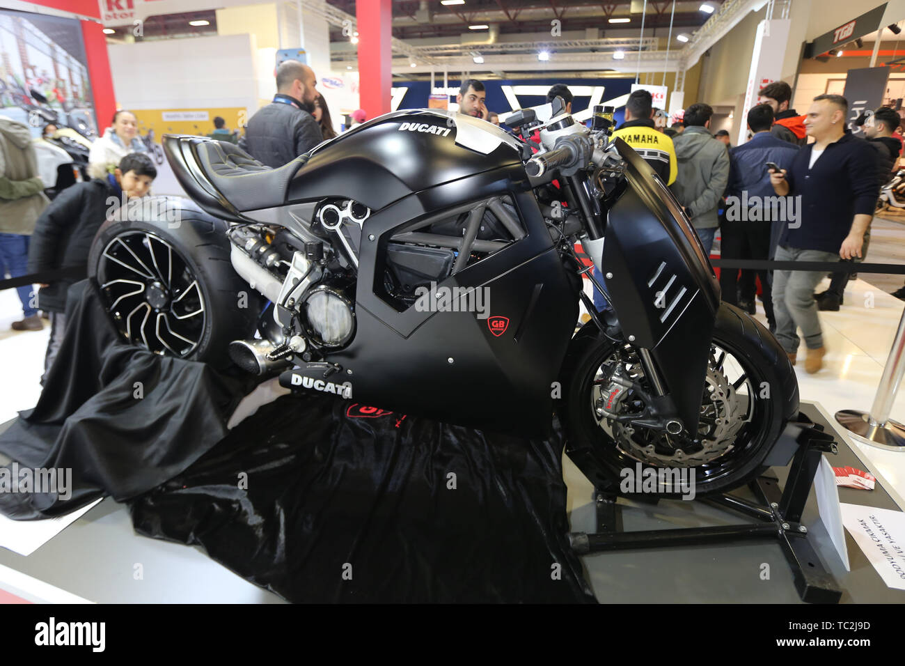 ISTANBUL, TURKEY - FEBRUARY 23, 2019: Ducati Motorcycle on display at Motobike Istanbul in Istanbul Exhibition Center - Stock Image