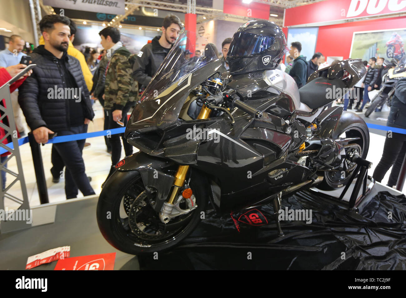 ISTANBUL, TURKEY - FEBRUARY 23, 2019: Ducati Panigale V4 on display at Motobike Istanbul in Istanbul Exhibition Center - Stock Image