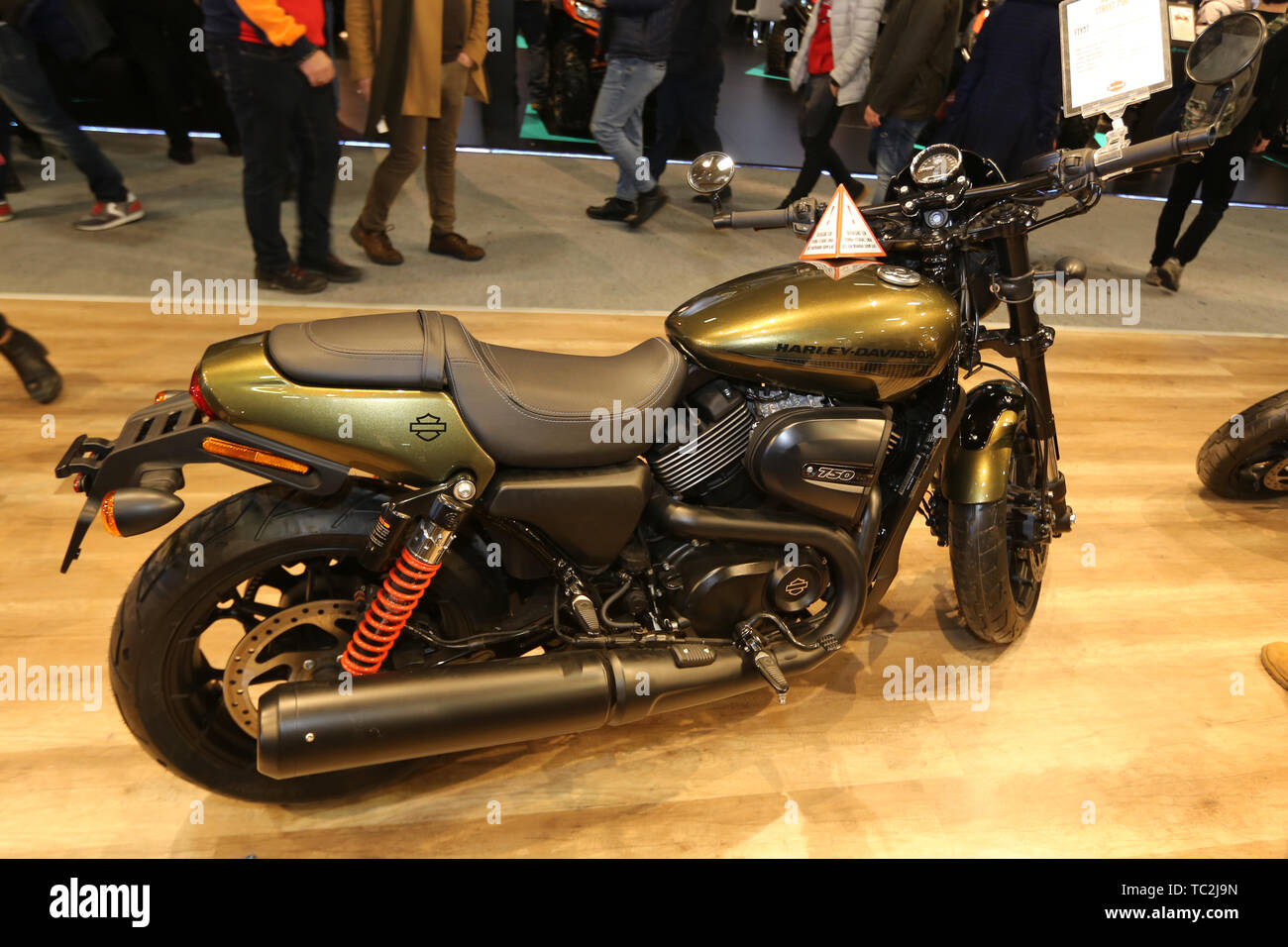 ISTANBUL, TURKEY - FEBRUARY 23, 2019: Harley-Davidson Street 750 on display at Motobike Istanbul in Istanbul Exhibition Center - Stock Image