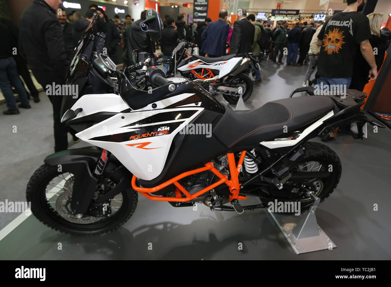 ISTANBUL, TURKEY - FEBRUARY 23, 2019: KTM 1090 on display at Motobike Istanbul in Istanbul Exhibition Center - Stock Image