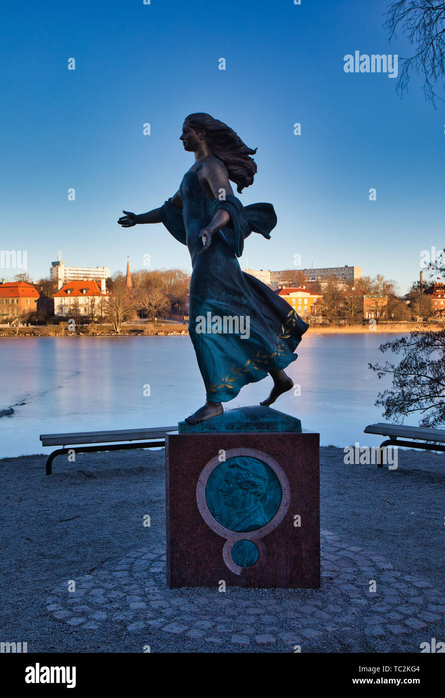 Statue of the Lady working for peace in the World by Peter Linde (2016), Djurgarden Stockholm Sweden - Stock Image