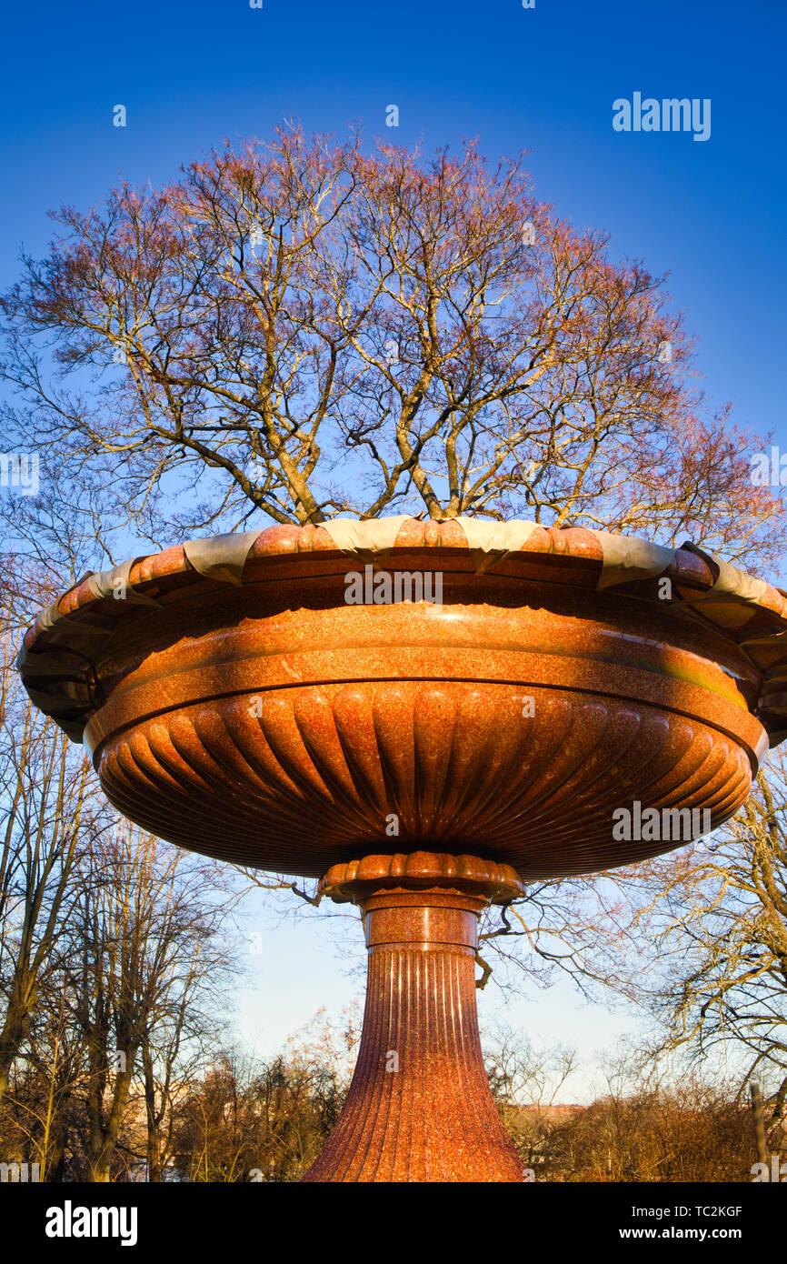 Gigantic Porphyry vase, Rosendal Palace gardens (Rosendals Slott), Djurgarden Stockholm Sweden - Stock Image