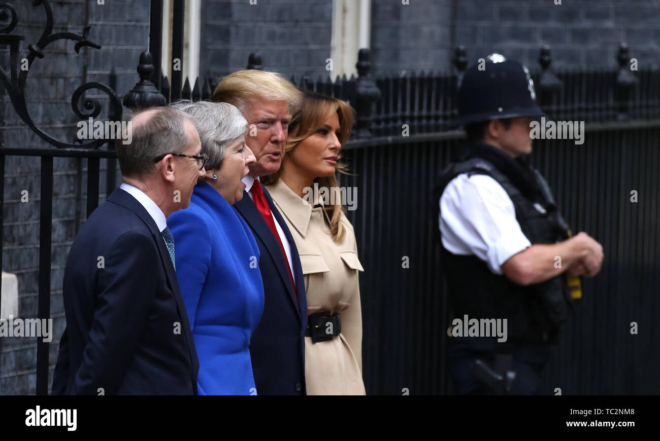 London, UK. 04th June, 2019. Donald Trump (President of the United States), and First Lady Melania Trump, are greeted in Downing Street by Theresa May (Prime Minister of the UK), and her husband Philip May. The President met The Prime Minister during his state visit to the UK. Donald Trump, State visit, Downing Street, London, UK on June 4, 2019. Credit: Paul Marriott/Alamy Live News Stock Photo