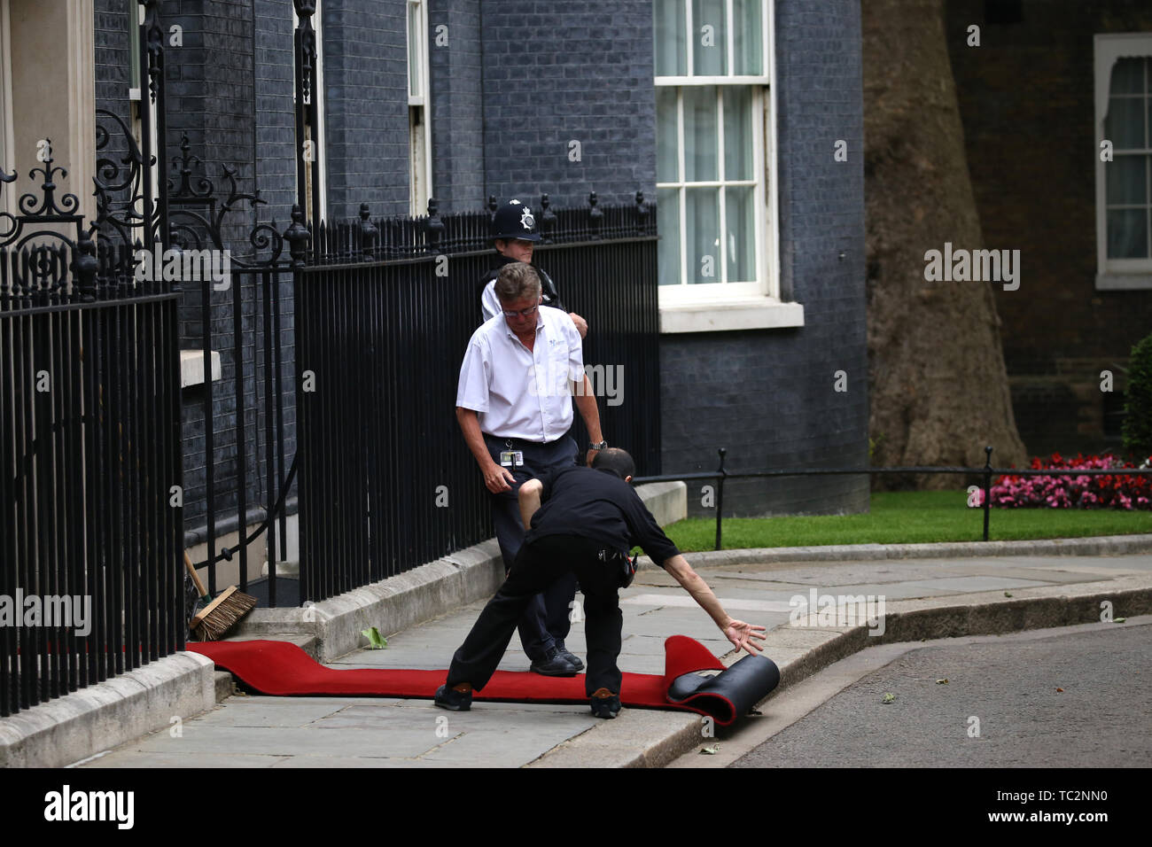 London, UK. 04th June, 2019. Two men roll out the red carpet before Donald Trump (President of the United States), and First Lady Melania Trump, are greeted in Downing Street by Theresa May (Prime Minister of the UK), and her husband Philip May. The President met The Prime Minister during his state visit to the UK. Donald Trump, State visit, Downing Street, London, UK on June 4, 2019. Credit: Paul Marriott/Alamy Live News Stock Photo