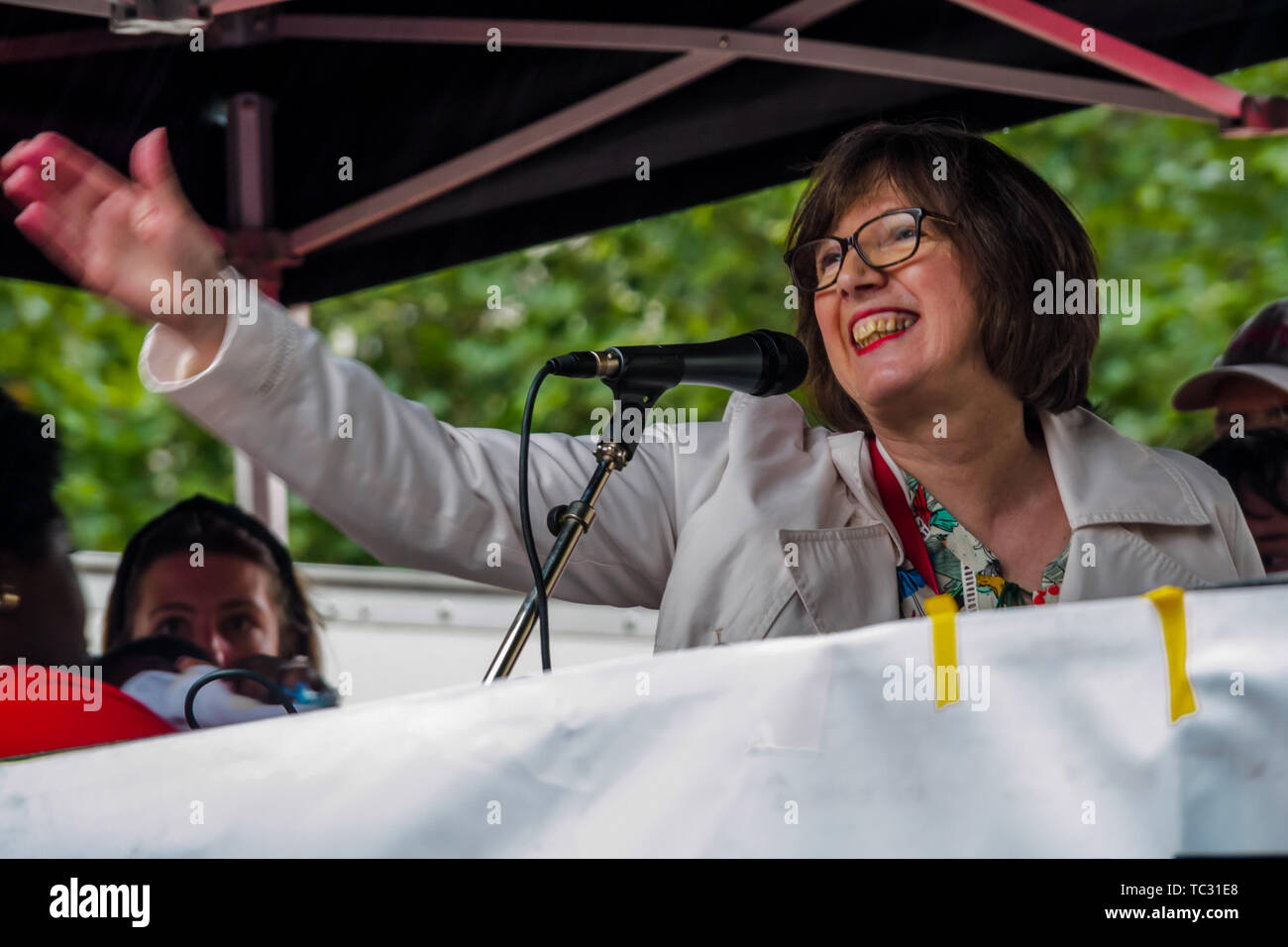 London, UK. 4th June 2019. 4th June, 2019. TUC General Secretary Frances O'Grady speaking at the Whitehall rally to send a clear message that President Trump is not welcome here because of his climate denial, racism, Islamophobia, misogyny and bigotry. His policies of hate and division have energised the far right around the world. Peter Marshall IMAGESLIVE Credit: Peter Marshall/IMAGESLIVE/ZUMA Wire/Alamy Live News Stock Photo