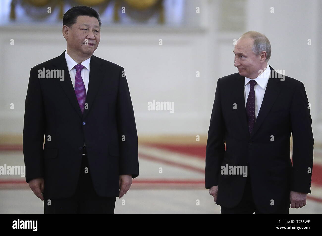 Moscow, Russia. 05th June, 2019. MOSCOW, RUSSIA - JUNE 5, 2019: China's President Xi Jinping (L) and Russia's President Vladimir Putin during a meeting in the Moscow Kremlin; the Chinese leader is on a three-day state visit to Russia. Mikhail Metzel/TASS Credit: ITAR-TASS News Agency/Alamy Live News - Stock Image