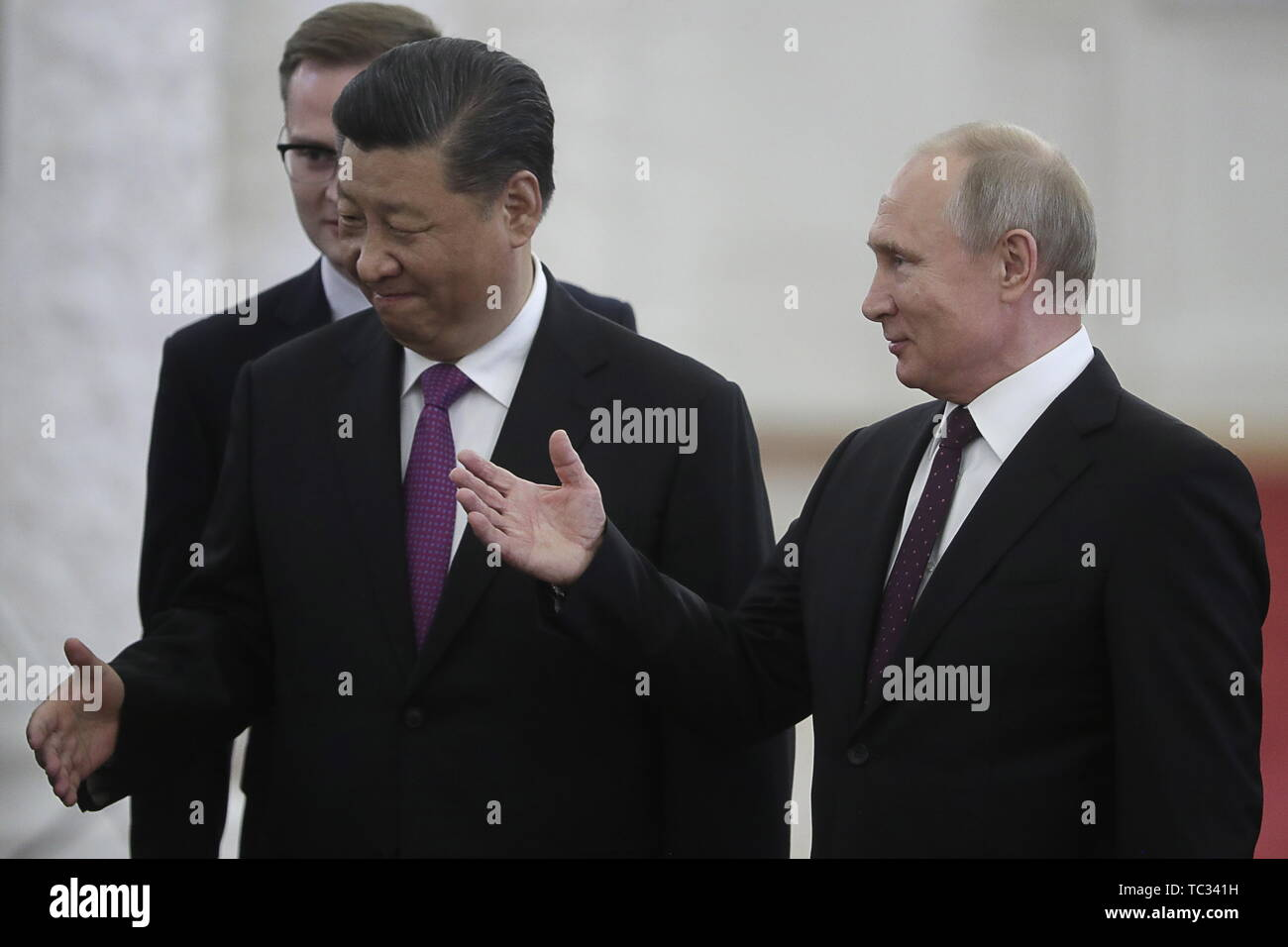 Moscow, Russia. 05th June, 2019. MOSCOW, RUSSIA - JUNE 5, 2019: China's President Xi Jinping (L front) and Russia's President Vladimir Putin (R) during a meeting in the Moscow Kremlin; the Chinese leader is on a three-day state visit to Russia. Mikhail Metzel/TASS Credit: ITAR-TASS News Agency/Alamy Live News - Stock Image