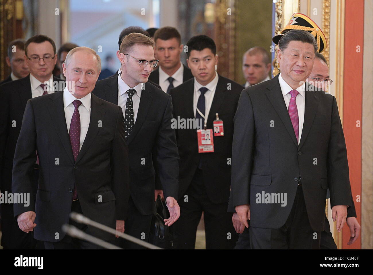 Moscow, Russia. 05th June, 2019. MOSCOW, RUSSIA - JUNE 5, 2019: Russia's President Vladimir Putin (L front) and China's President Xi Jinping (R front) during a meeting in the Moscow Kremlin; the Chinese leader is on a three-day state visit to Russia. Alexei Druzhinin/Russian Presidential Press and Information Office/TASS Credit: ITAR-TASS News Agency/Alamy Live News - Stock Image