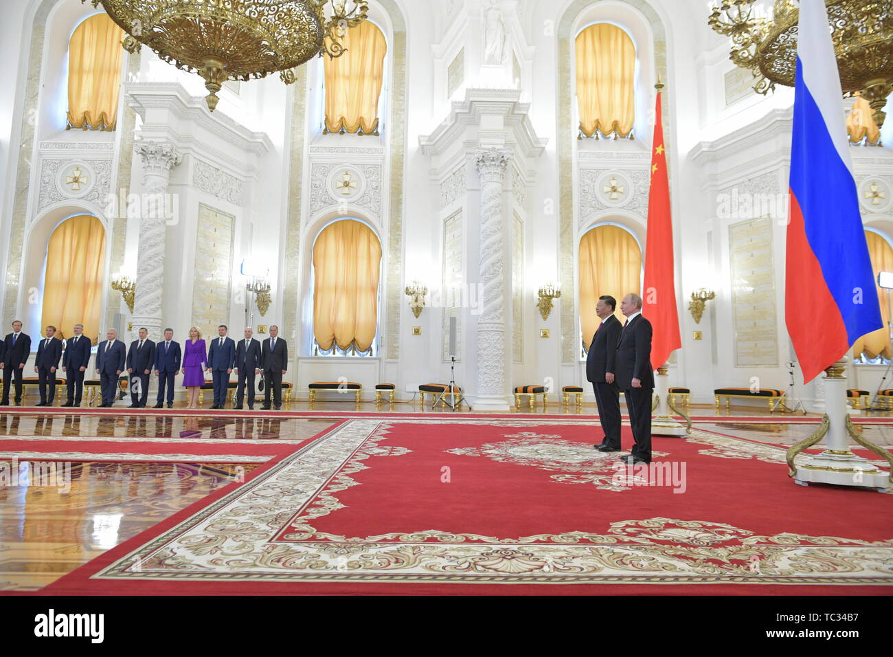 Moscow, Russia. 05th June, 2019. MOSCOW, RUSSIA - JUNE 5, 2019: China's President Xi Jinping (2nd R) and Russia's President Vladimir Putin (R) during a meeting in the Moscow Kremlin; the Chinese leader is on a three-day state visit to Russia. Alexei Druzhinin/Russian Presidential Press and Information Office/TASS Credit: ITAR-TASS News Agency/Alamy Live News - Stock Image