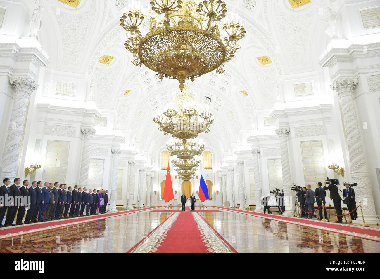 Moscow, Russia. 05th June, 2019. MOSCOW, RUSSIA - JUNE 5, 2019: China's President Xi Jinping and Russia's President Vladimir Putin (L-R centre) during a meeting in the Moscow Kremlin; the Chinese leader is on a three-day state visit to Russia. Alexei Druzhinin/Russian Presidential Press and Information Office/TASS Credit: ITAR-TASS News Agency/Alamy Live News - Stock Image