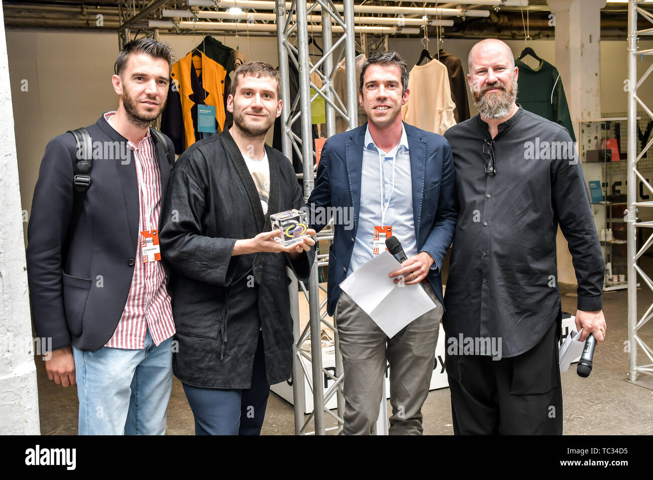 London, UK. 05th June, 2019. Marco Meconi is a winner of Accessories Costume & Mode (Roma) at the Graduate Fashion Week 2019 - Final Day, on 5 June 2019, Old Truman Brewery, London, UK. Credit: Picture Capital/Alamy Live News - Stock Image