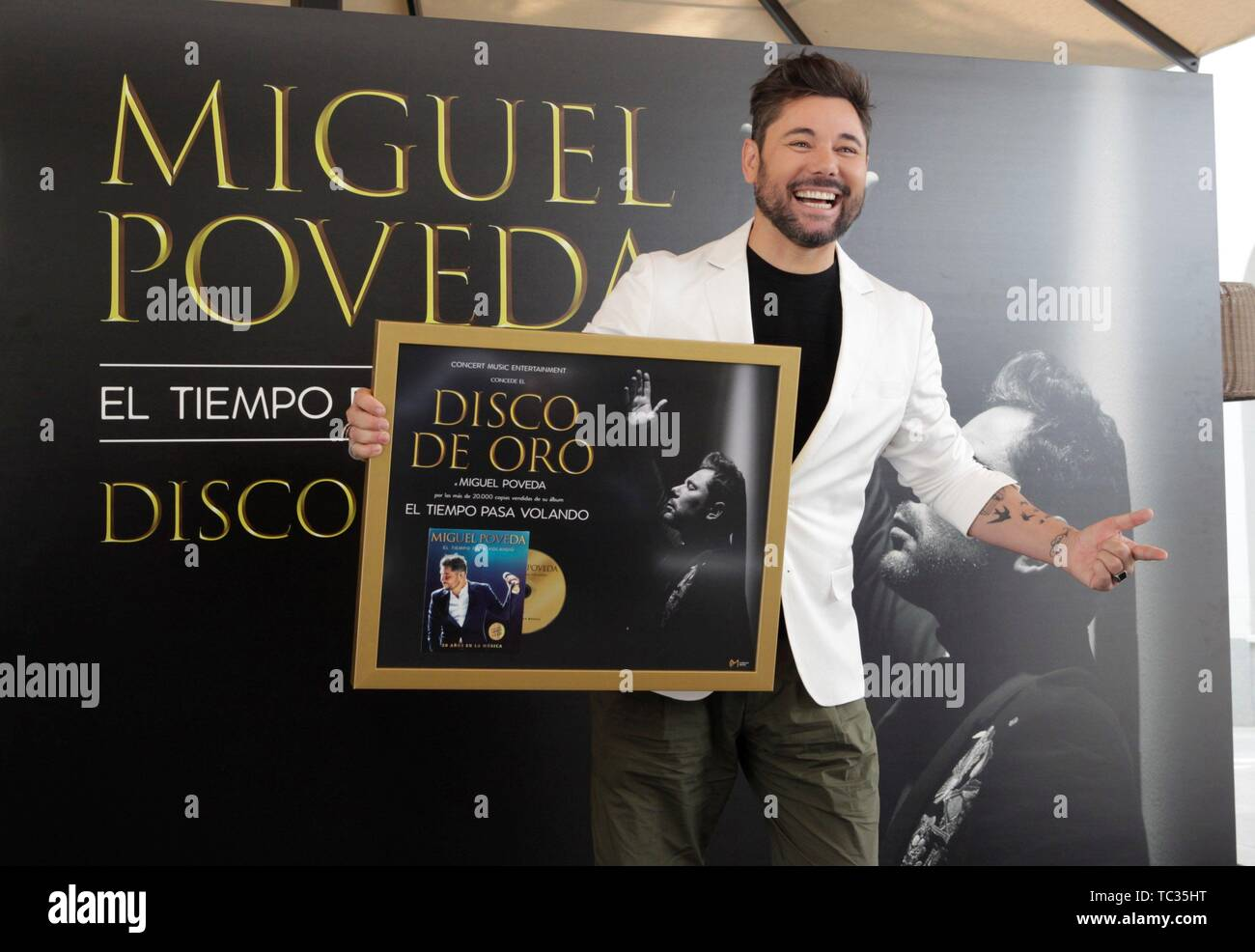Madrid, Spain  05th June, 2019  Spanish singer Miguel Poveda poses