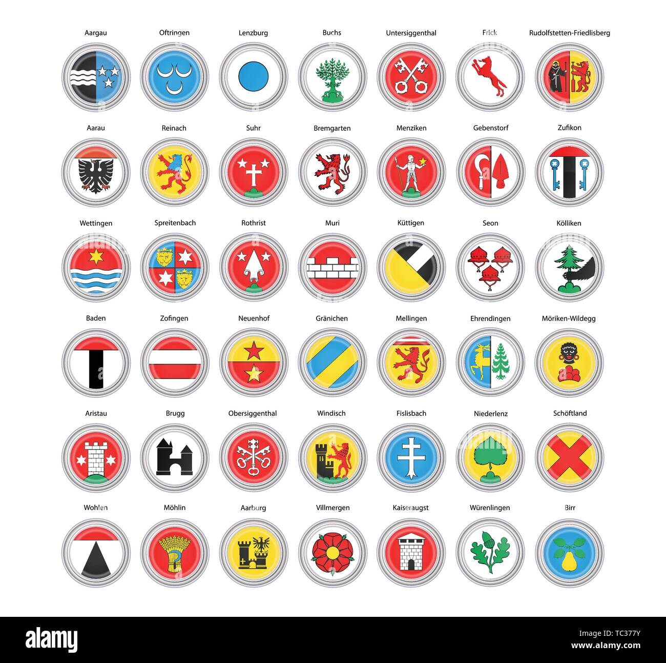 Set of vector icons. Municipalities of Aargau canton flags, Switzerland. 3D illustration. - Stock Image