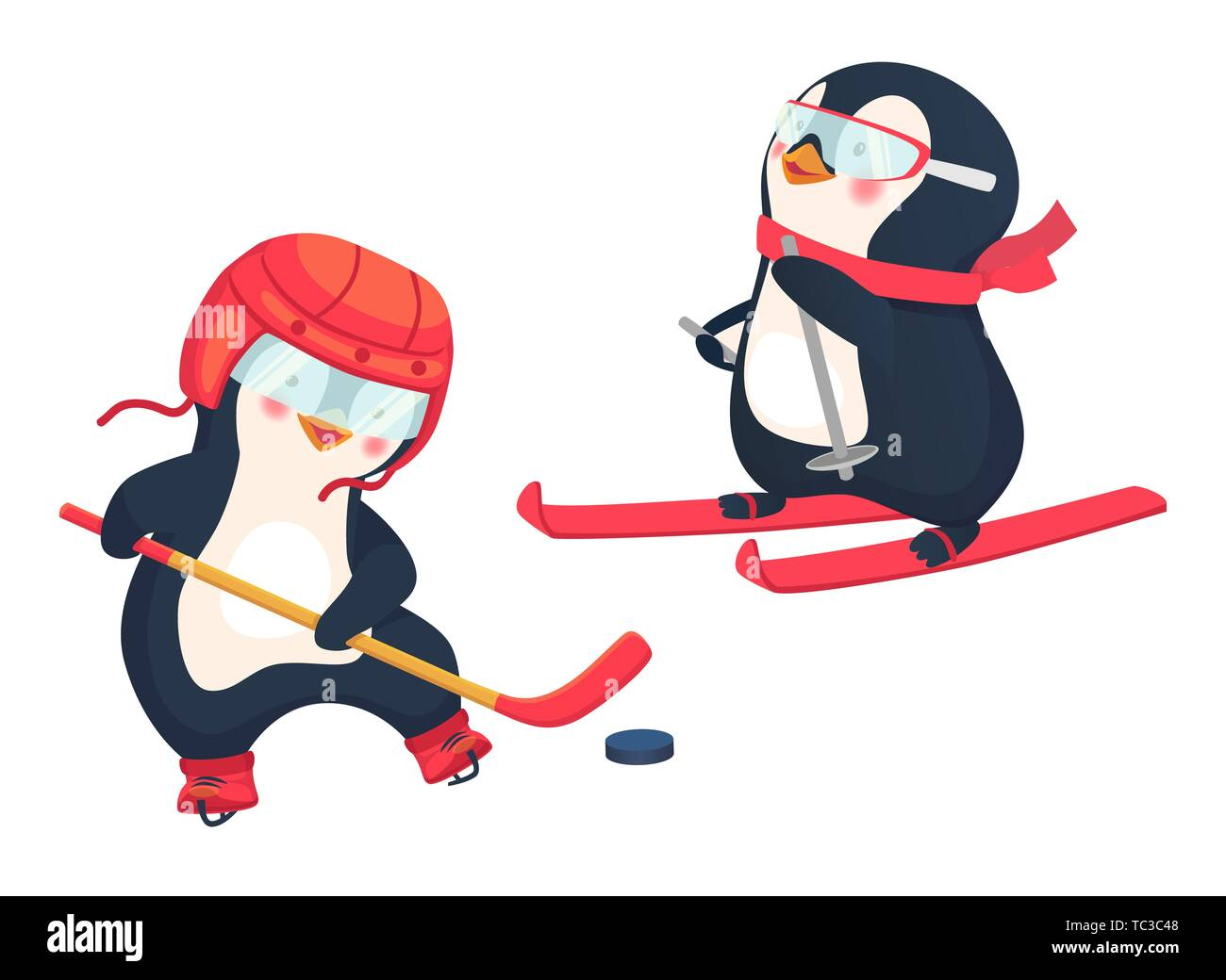 penguin hockey player and penguin skier childrens sports concept active penguins illustration TC3C48