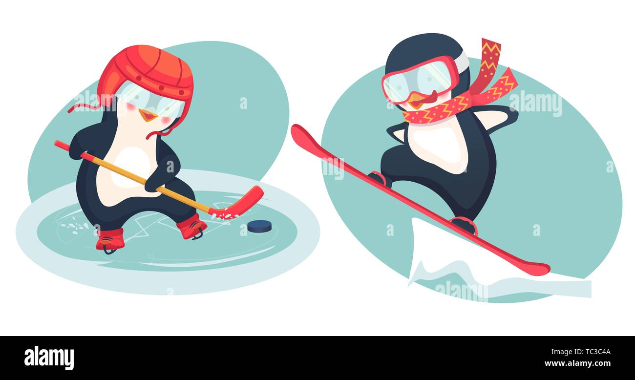 penguin hockey player and penguin snowboarder childrens sports concept active penguins illustration TC3C4A