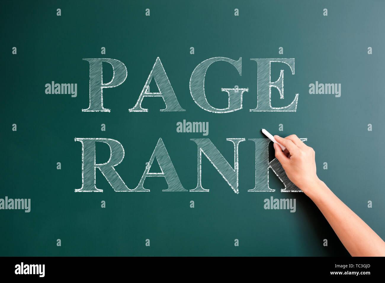 page rank written on blackboard - Stock Image