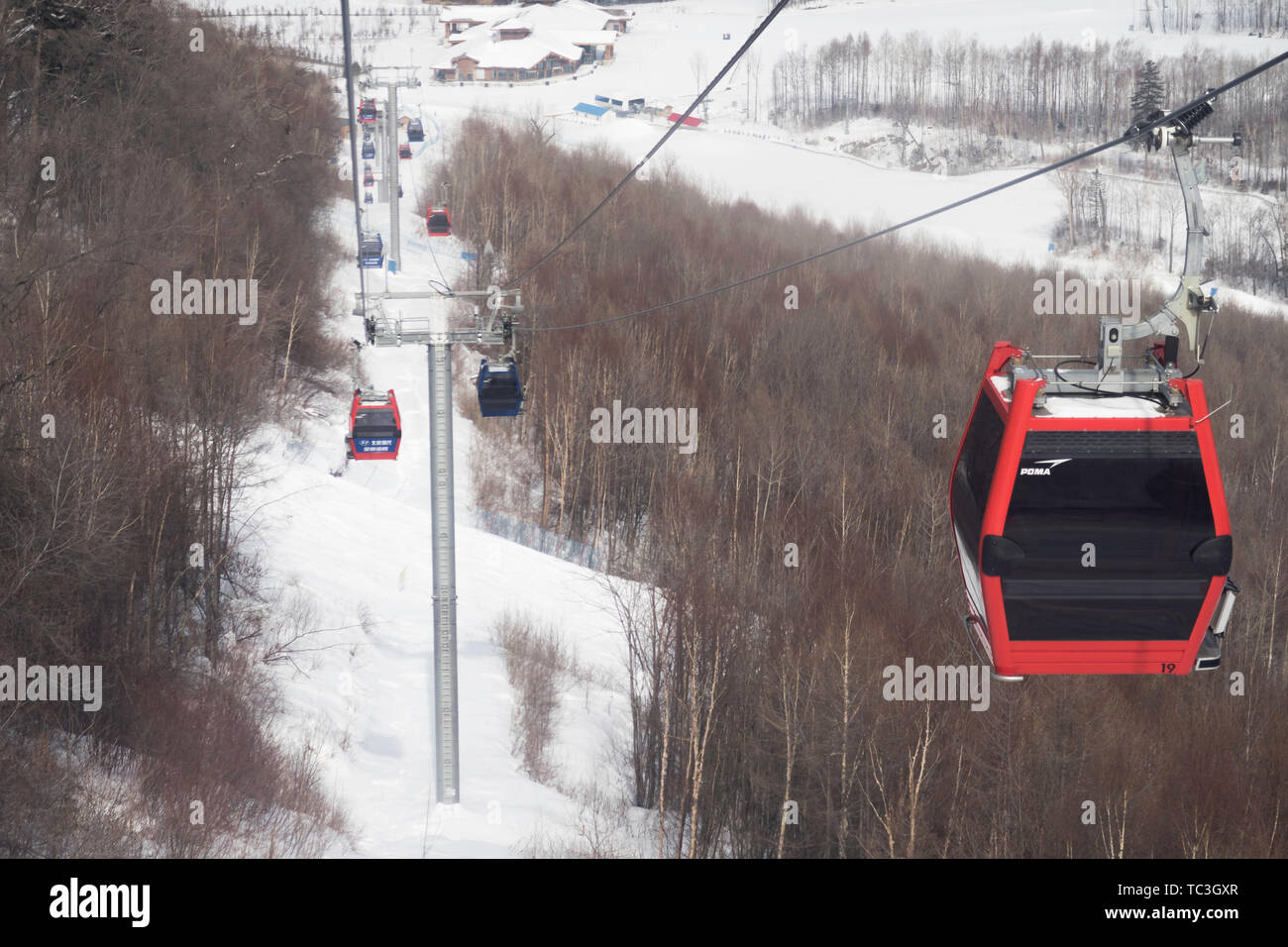 Changbai Mountain Ski Resort cableway Stock Photo