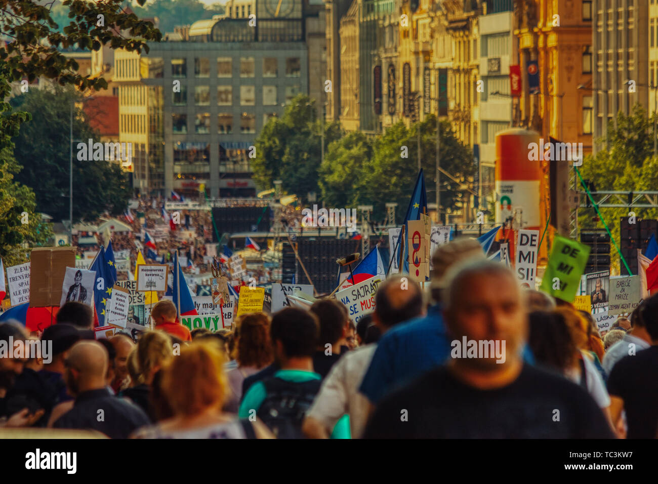Prague, 4 of June of 2019 - Protest against Andrej Babis in Wenceslas Square - Stock Image