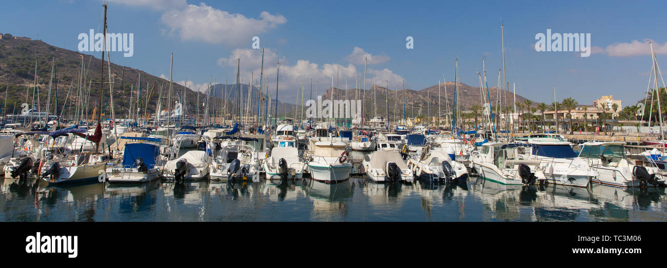 Cartagena Murcia Spain with boats in harbour panoramic view - Stock Image