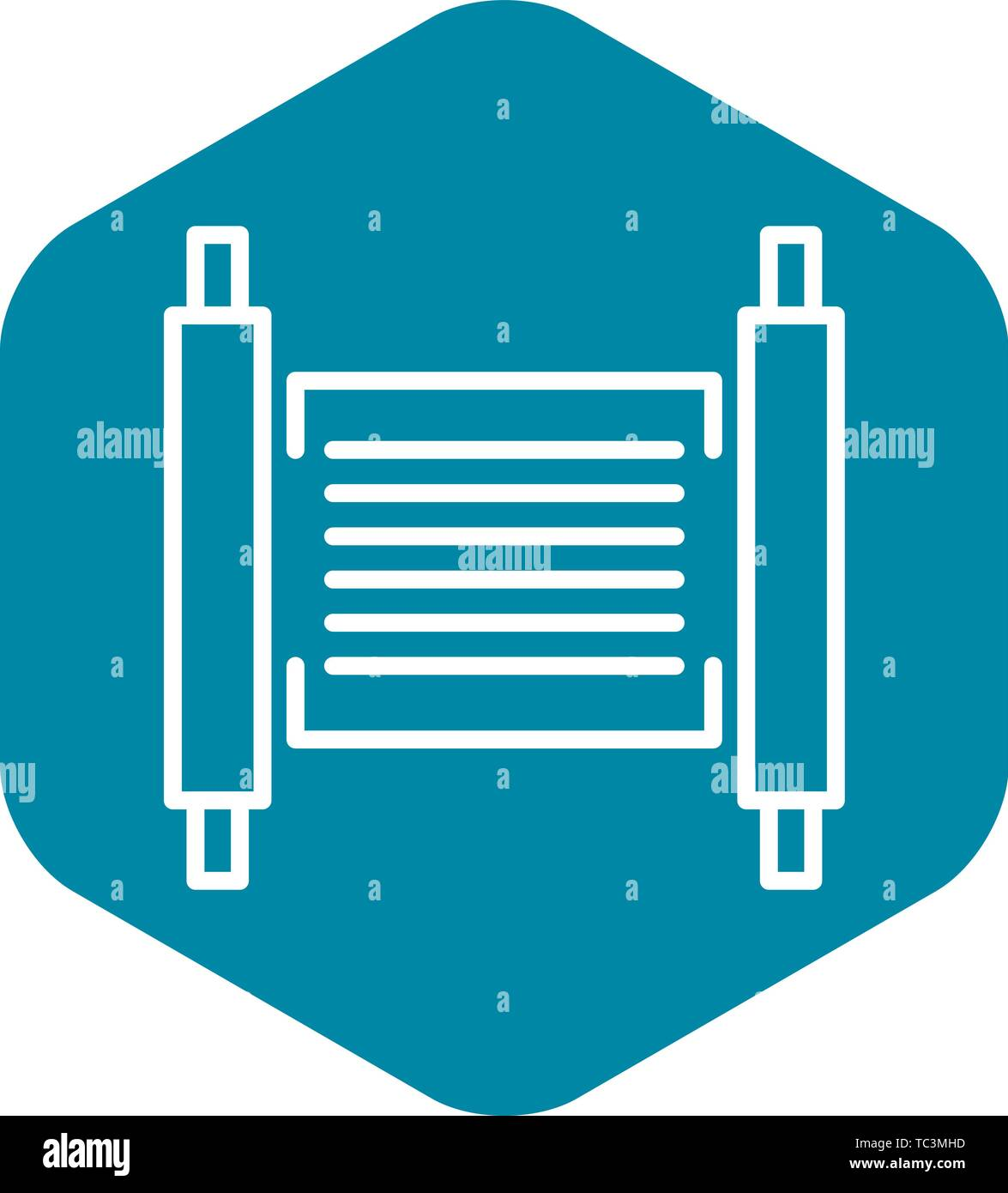 Torah papyrus icon, outline style - Stock Vector