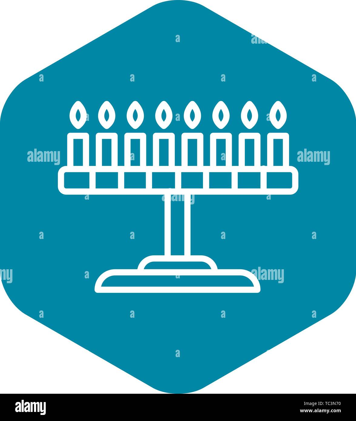 Candle jewish stand icon, outline style - Stock Vector
