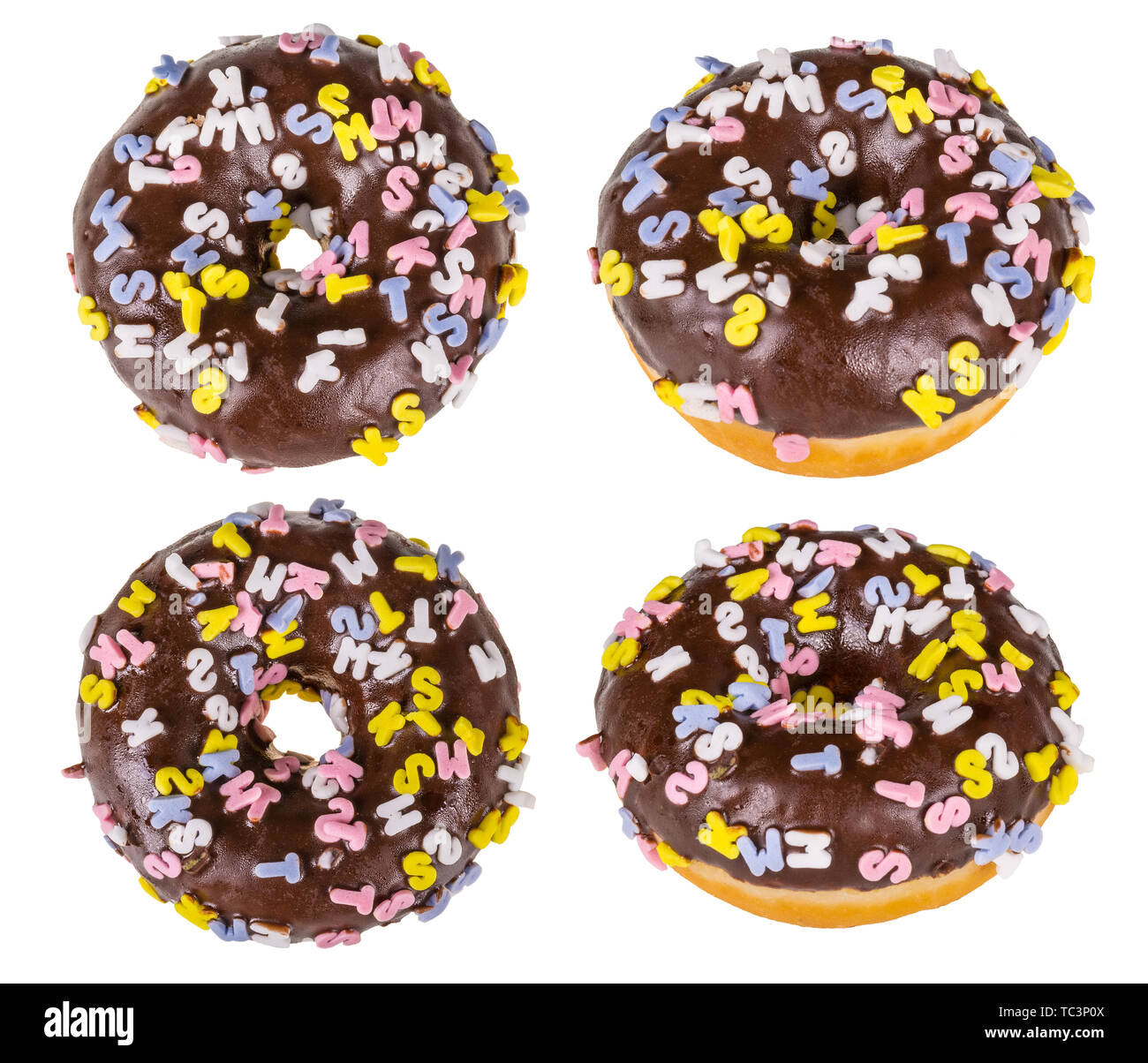 Four sweet baked donuts sprinkled with colorful capital letters. Isolated on white background. Round fried fat doughnuts. Chocolate topping. Junk food. - Stock Image