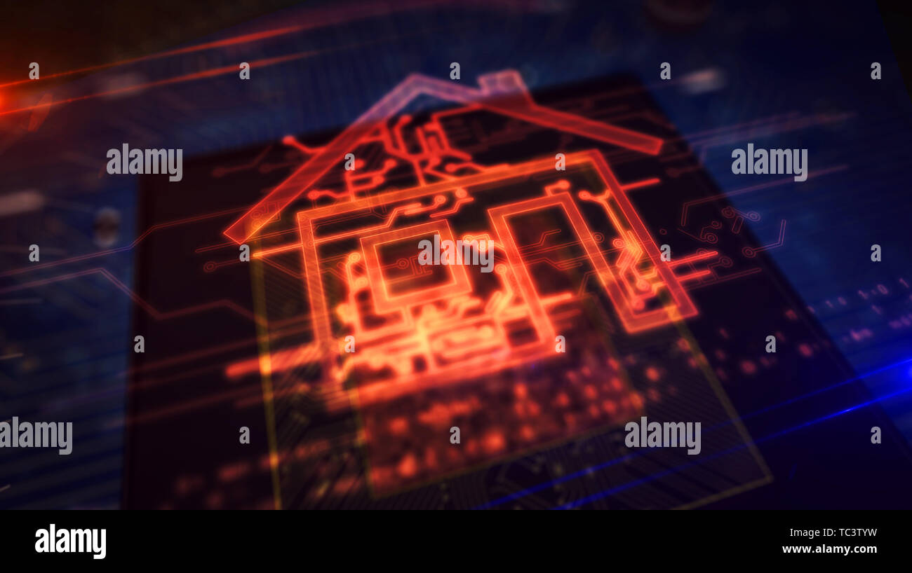 Smart home controlling concept with house hologram over cpu in background. Futuristic animation of iot, intelligent building and internet of things. C Stock Photo
