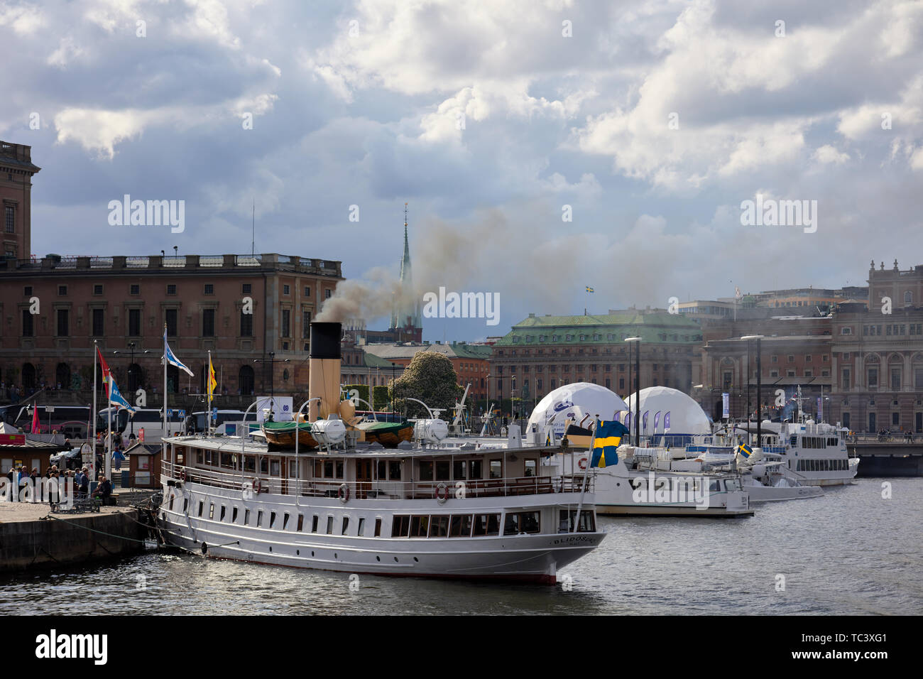 Coal-fueled steam boat Blidösund prepares for a a cruise in Stockholm, Sweden Stock Photo